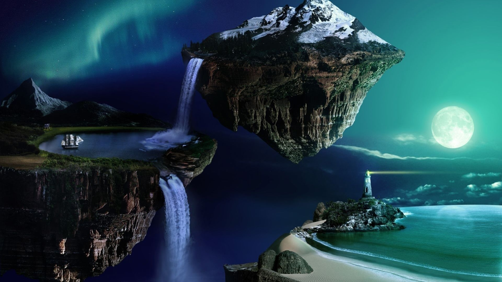 Wallpaper 3d Desktop Flying Island