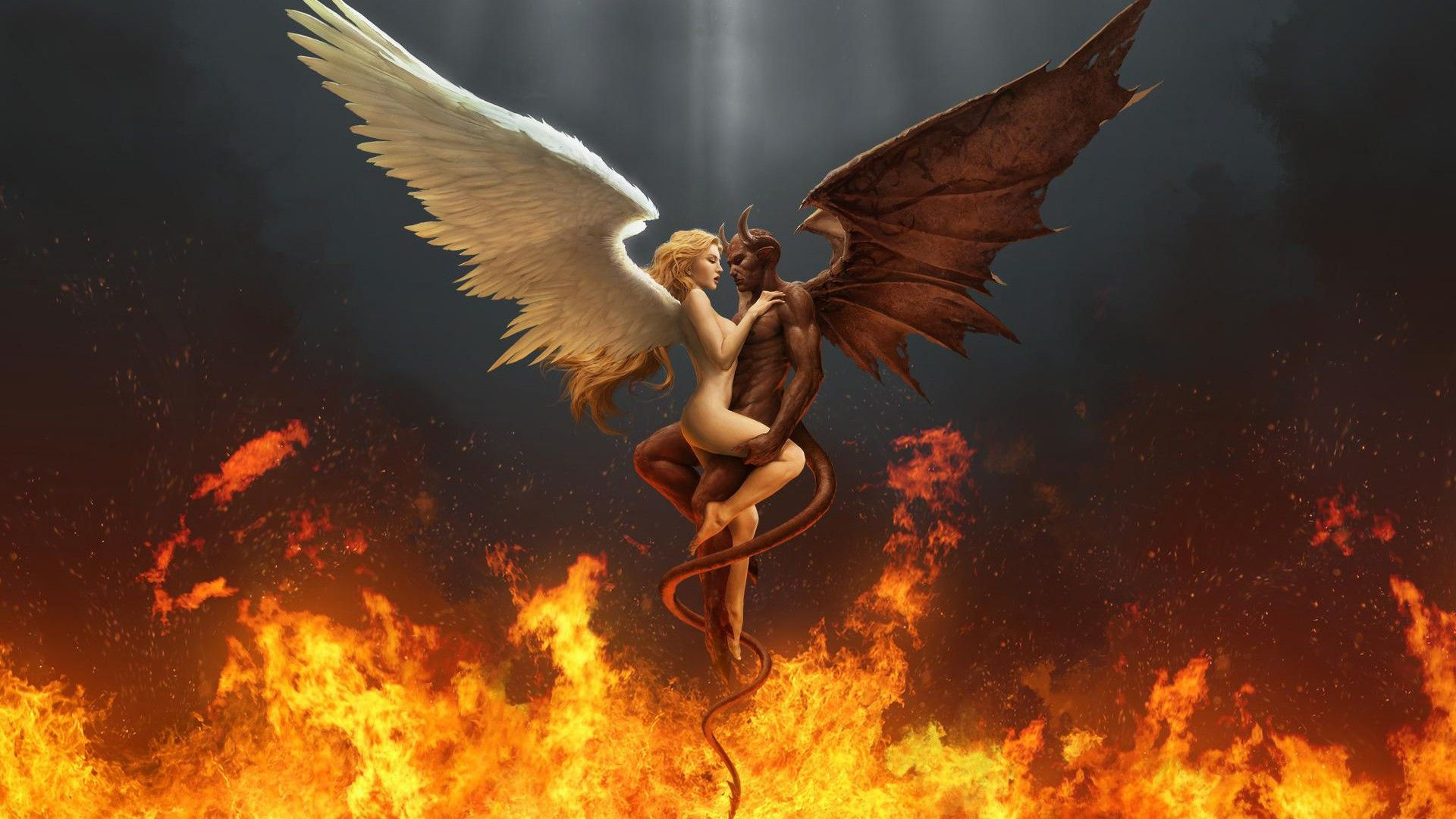 Wallpaper Devil And Angel
