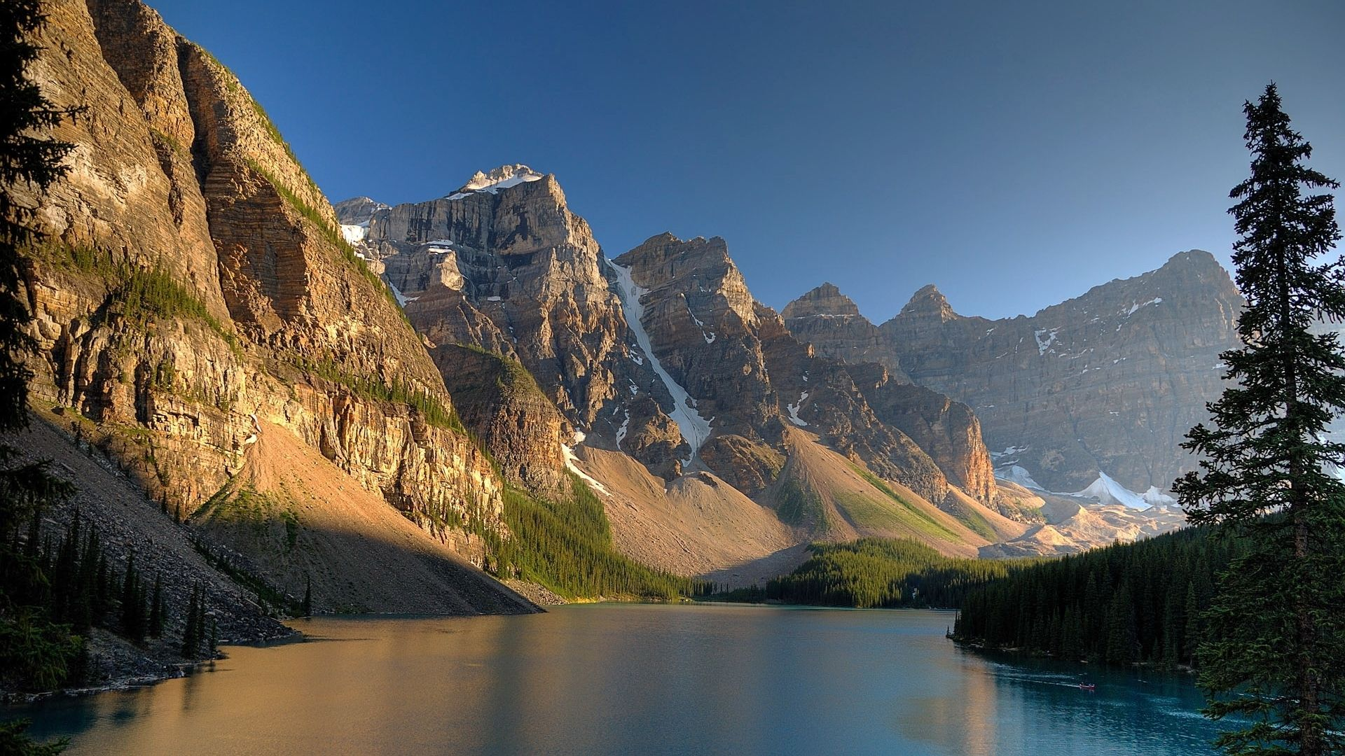 A Desktop Wallpaper Of The Mountains And Lakes