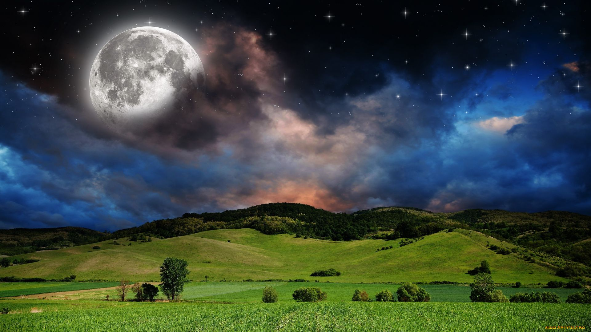 A Photo Of The Moon With A Beautiful Sky