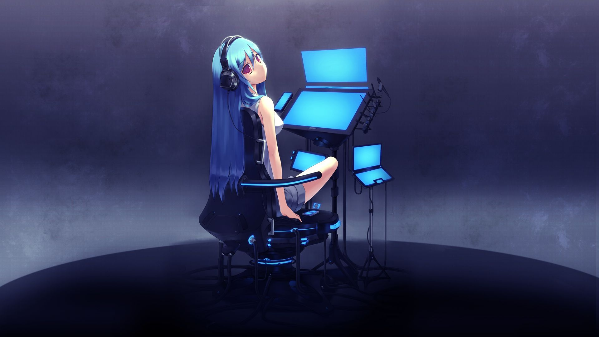 Anime Girl At The Computer With Headphones