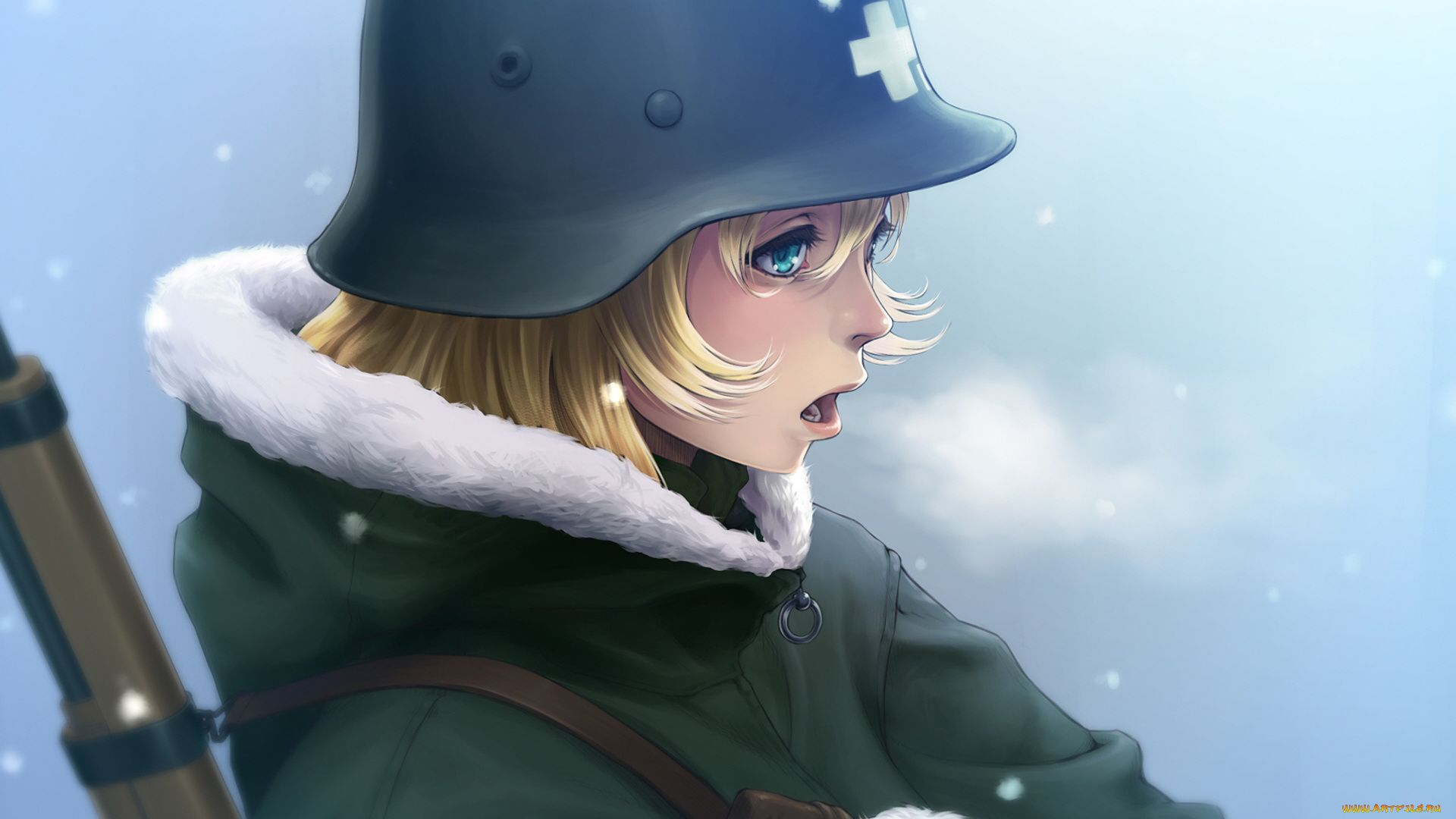 Anime Picture In The Helmet Of Military