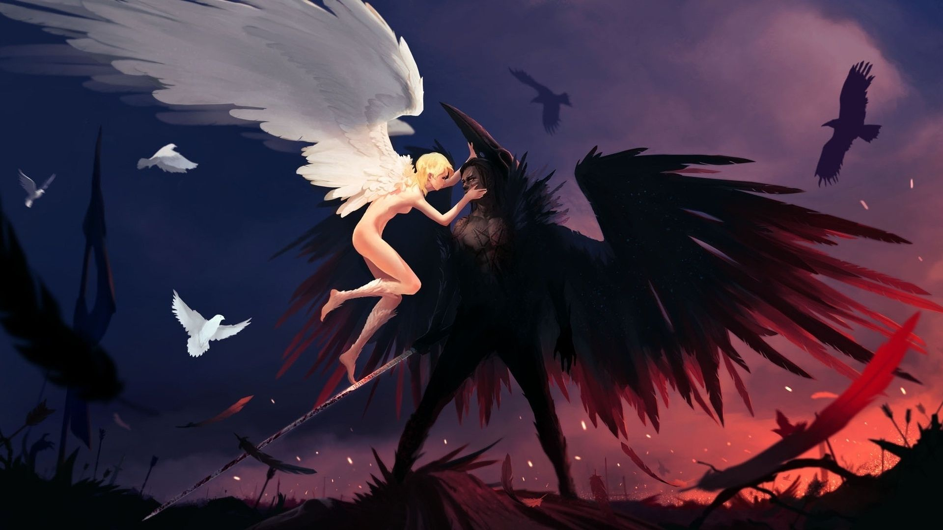 Anime Pictures Angel And Demon