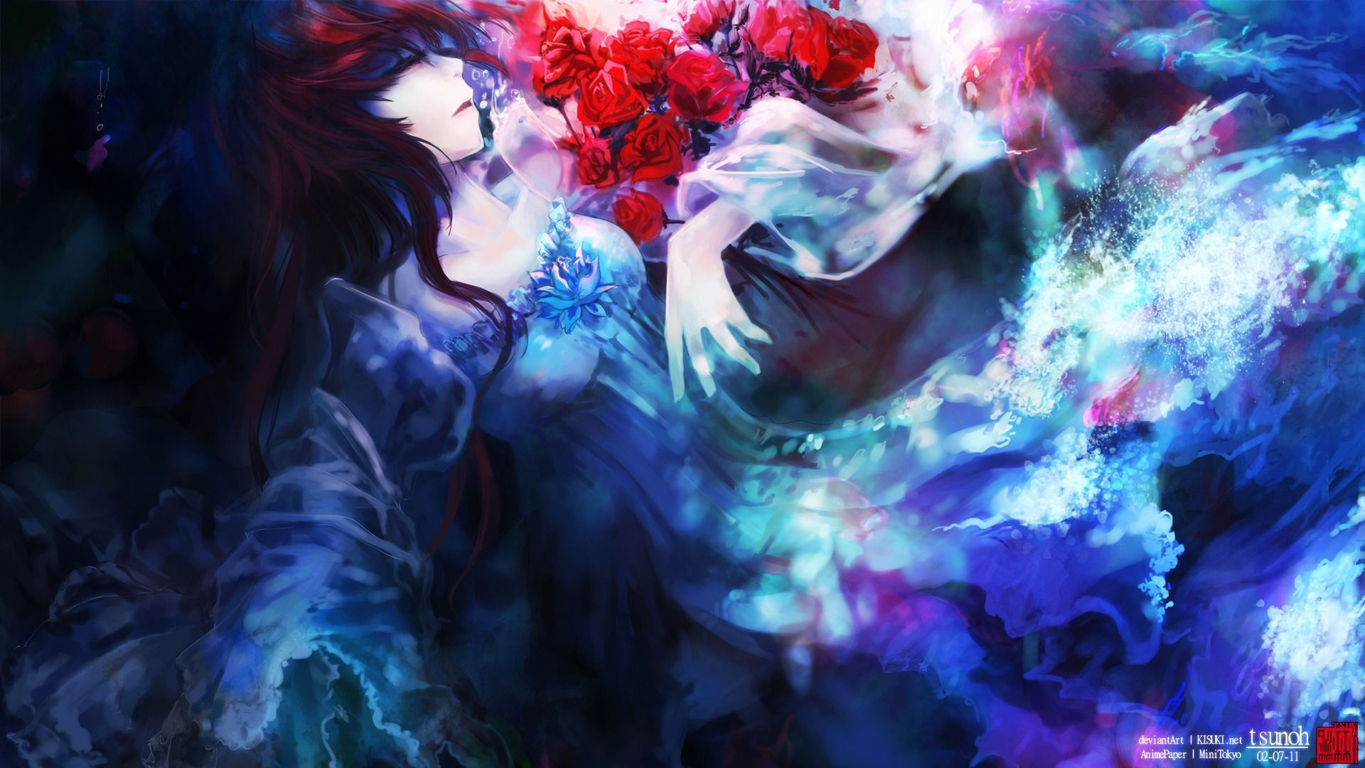 Blue Flowers Anime Art
