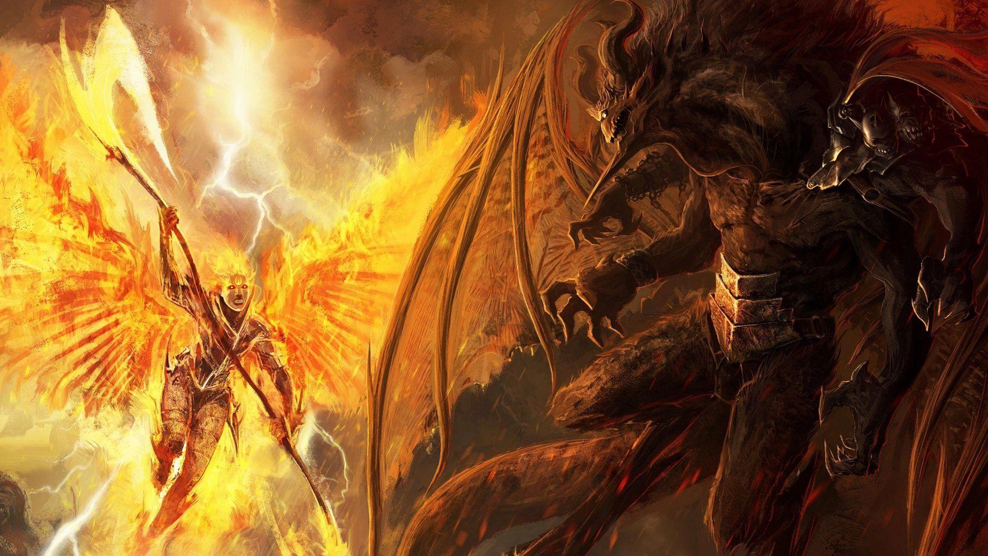Fantasy Art Battle Fire Demons