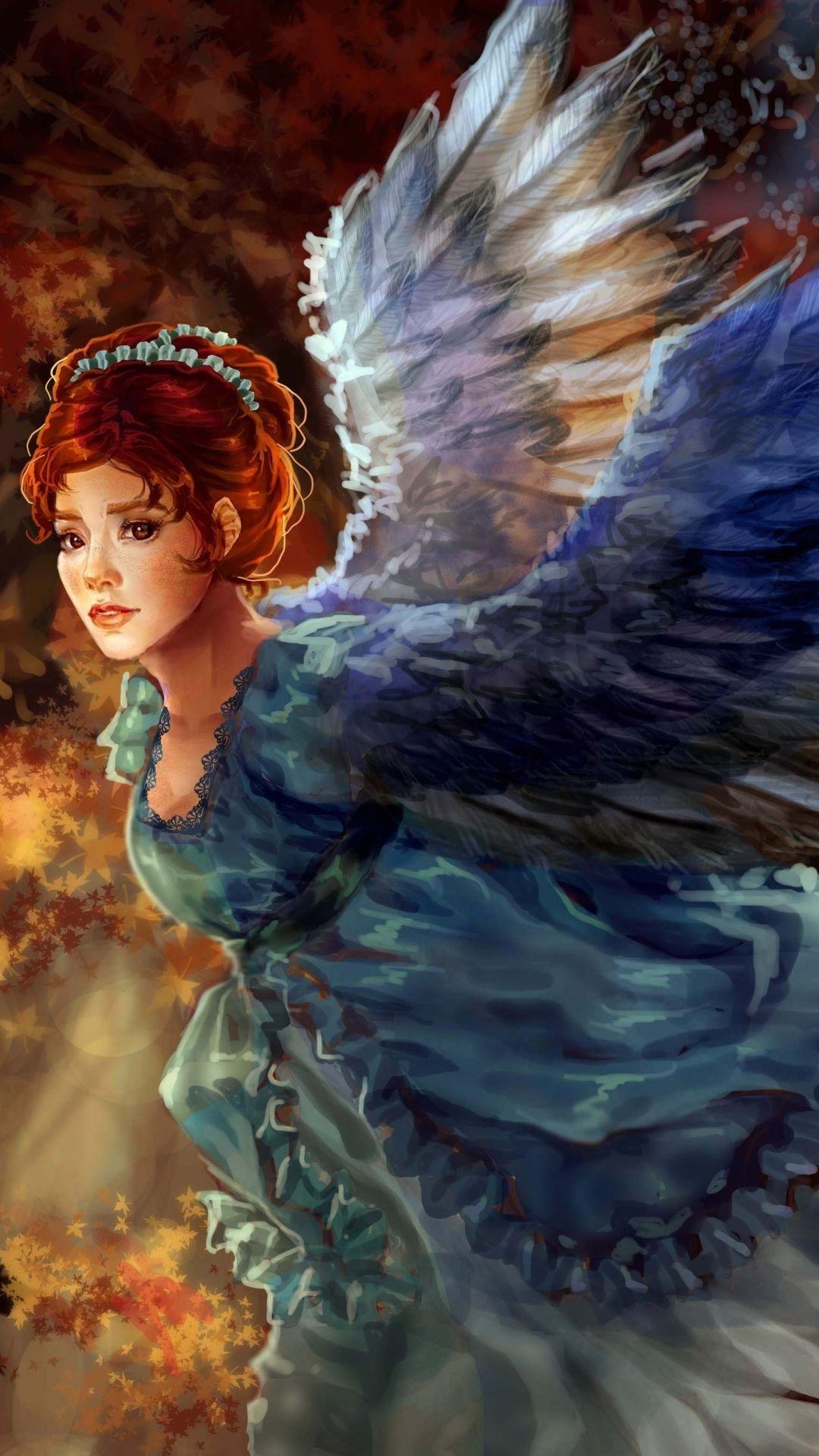 Fantasy Art Girl Bird
