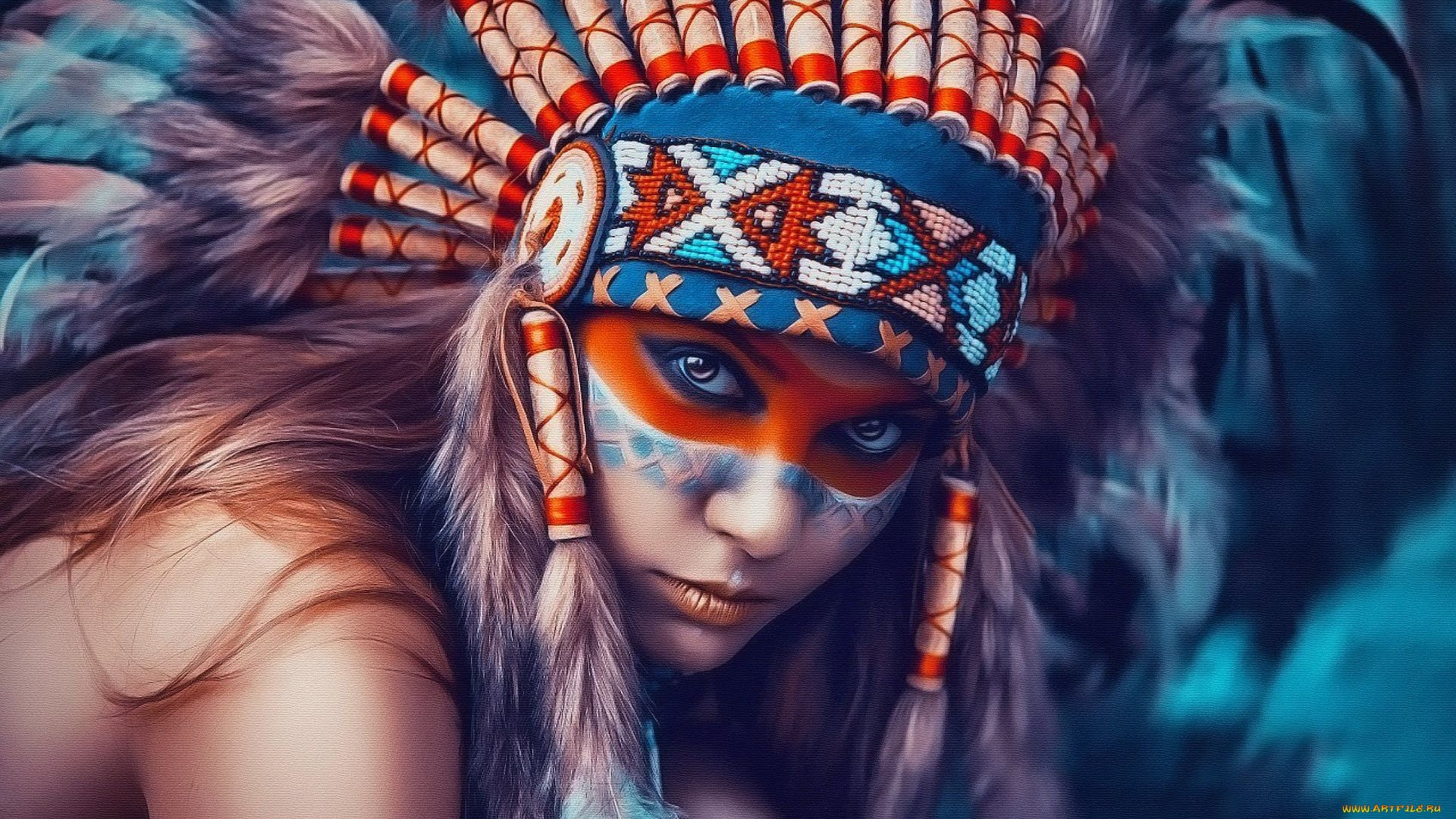 Girl In Indian Headdress