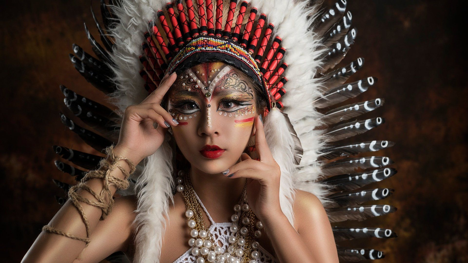 Girl With Headdress Indian