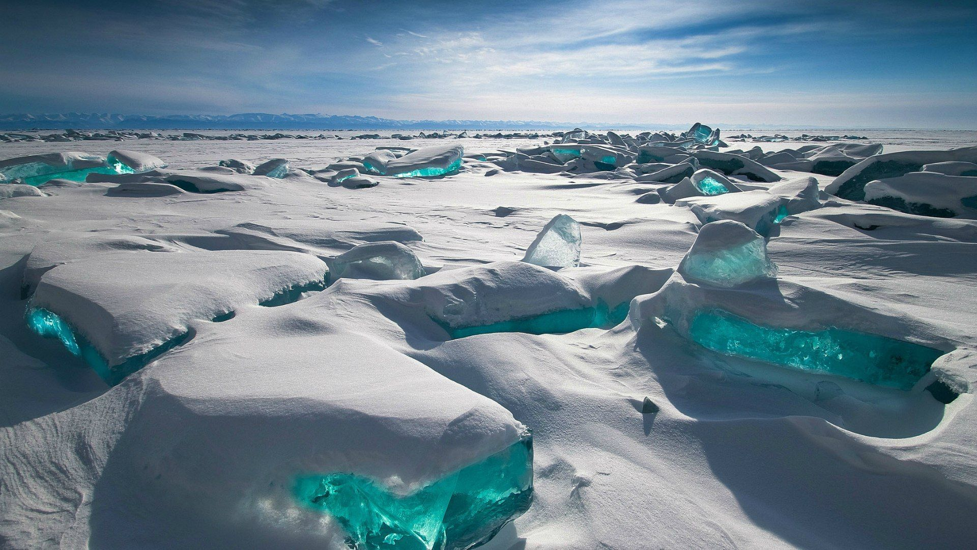 Lake Baikal Turquoise Ice In The Winter