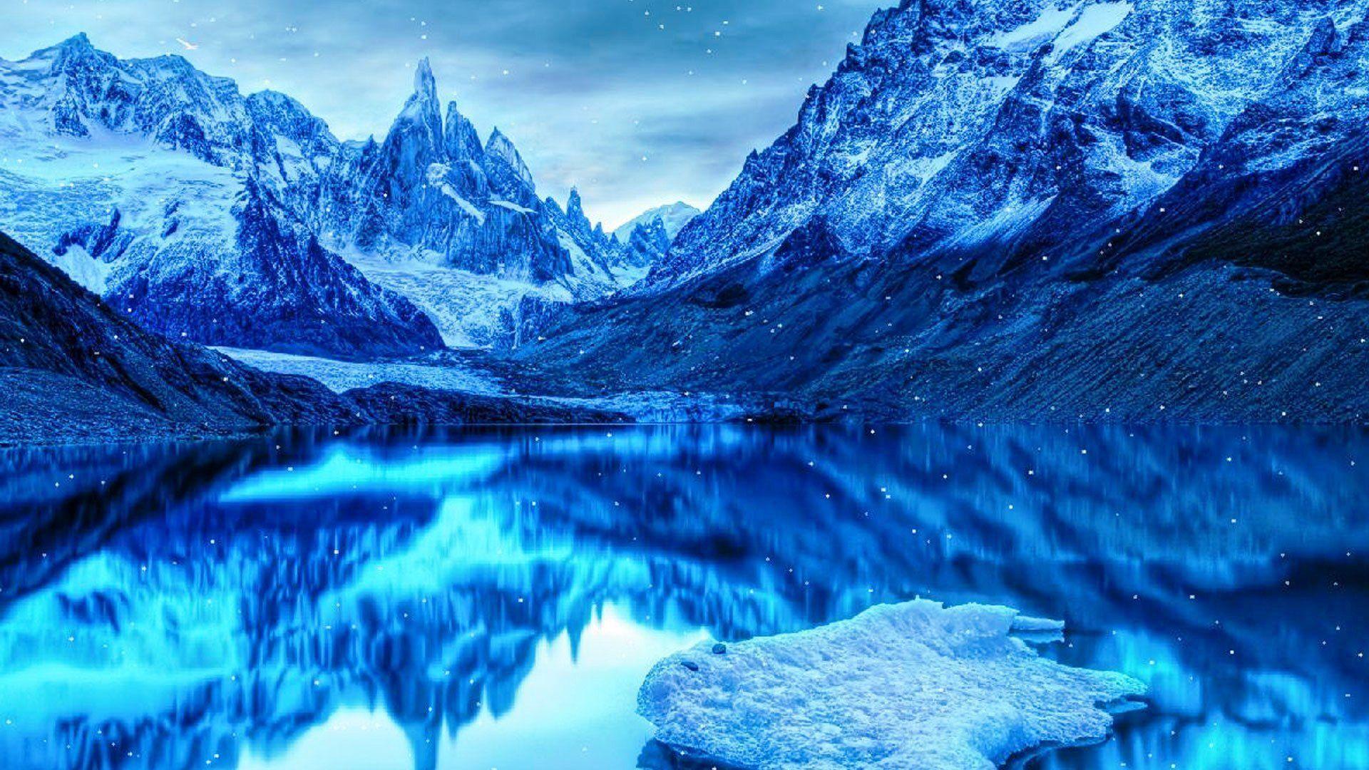 Mountains Snow Ice Lake