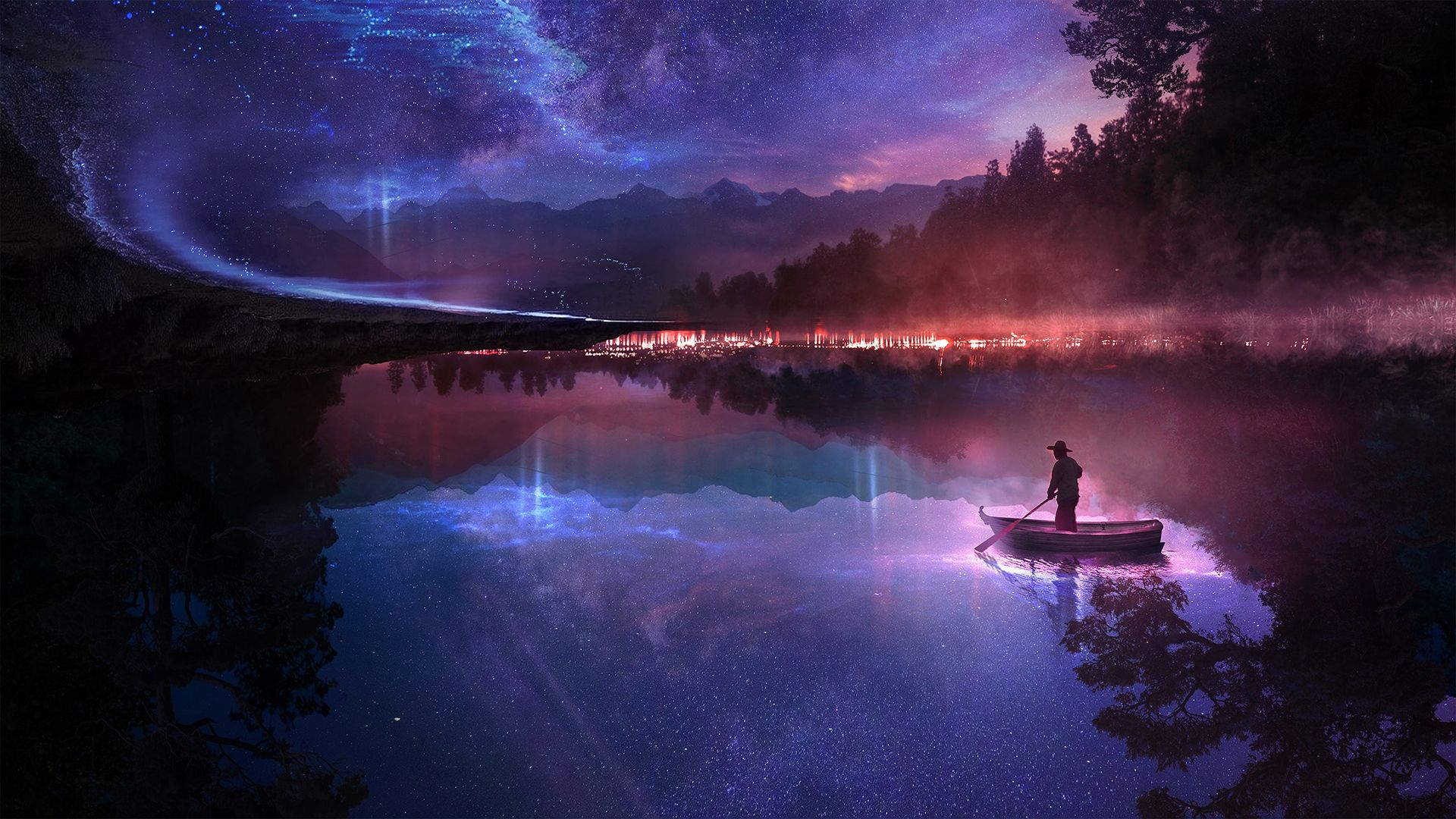 Night Lake Purple Anime