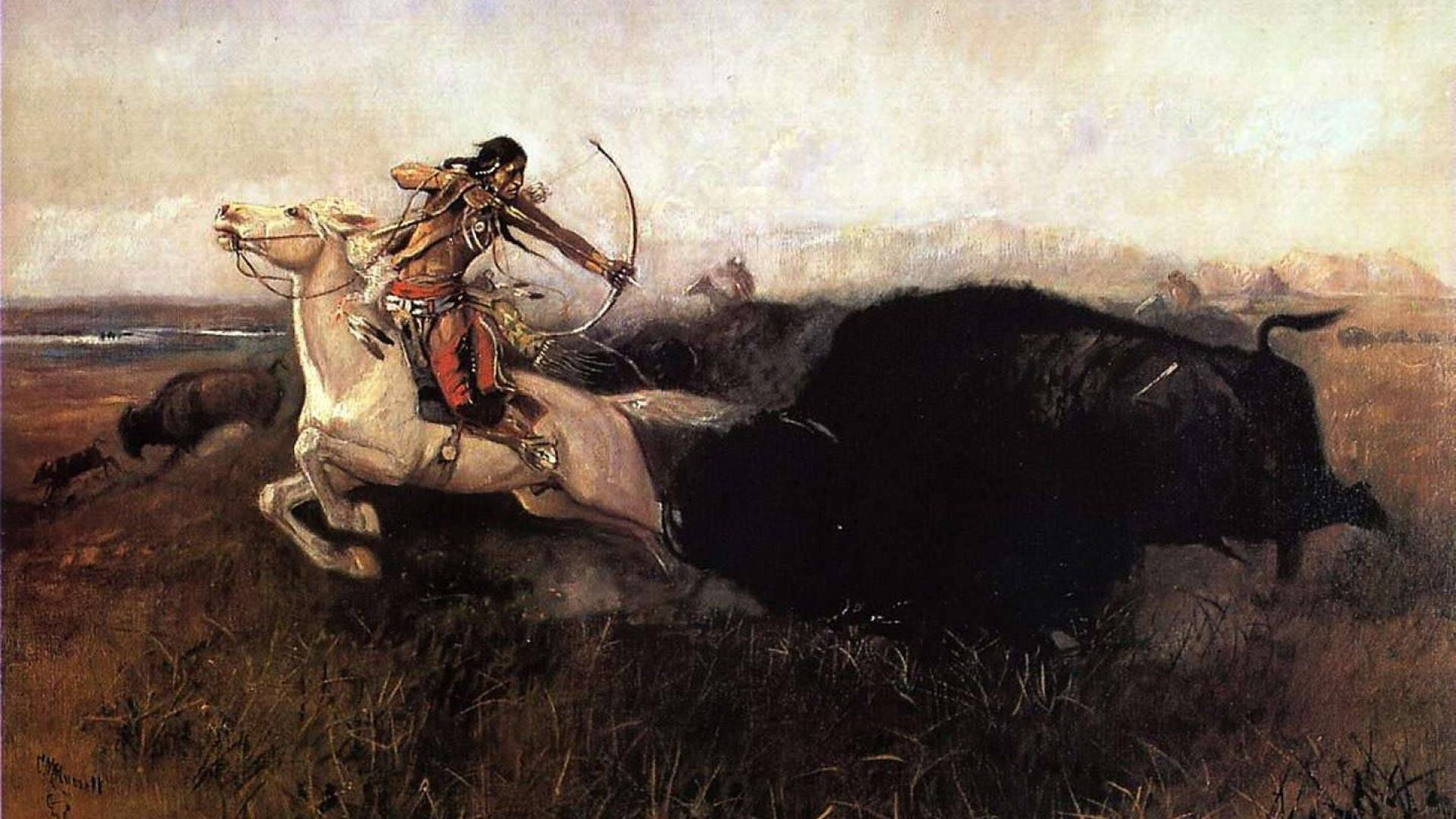 Paintings Of Hunting Indians