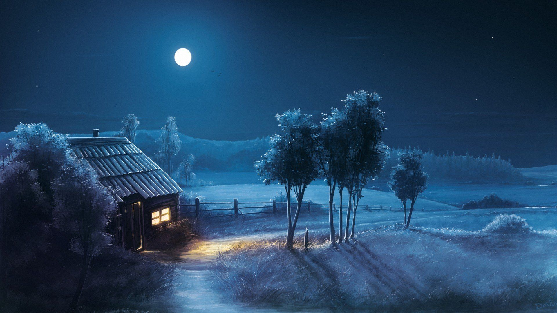 Pictures Night House Moon Star