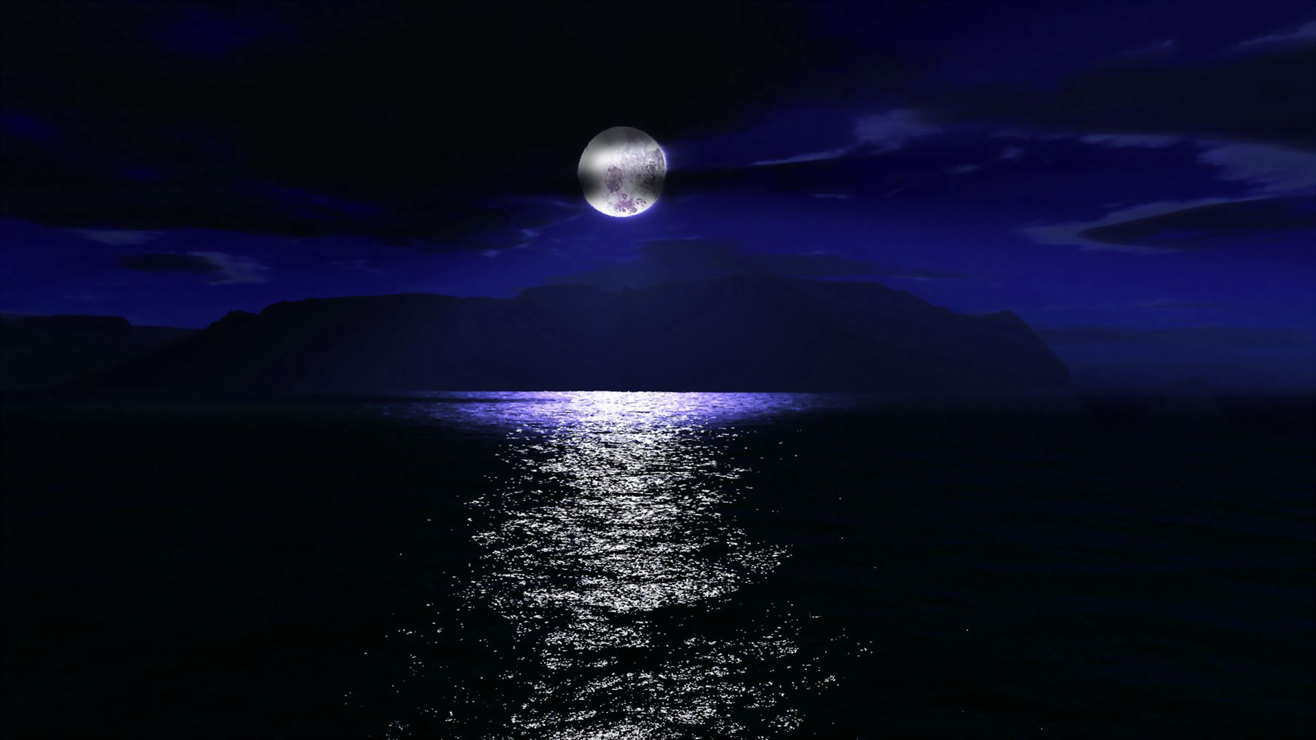 Pictures Sea Night Moon