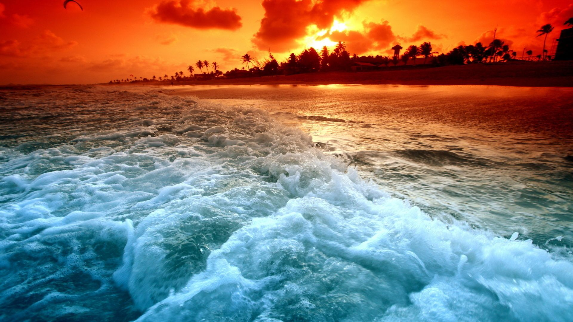 Pictures Sea Sunset Waves