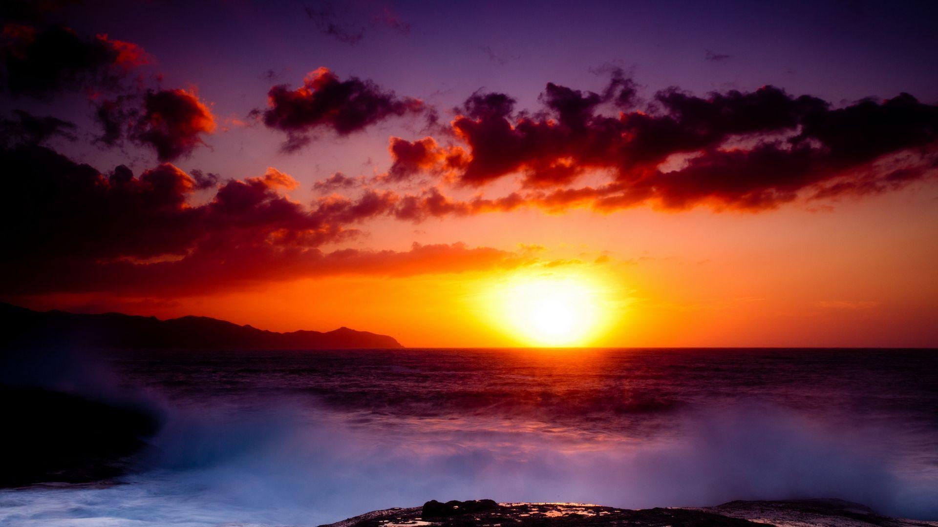 Purple Sunset On The Sea Photo