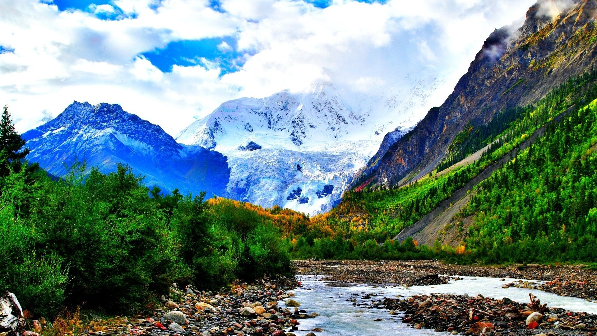 River In Mountains Photo