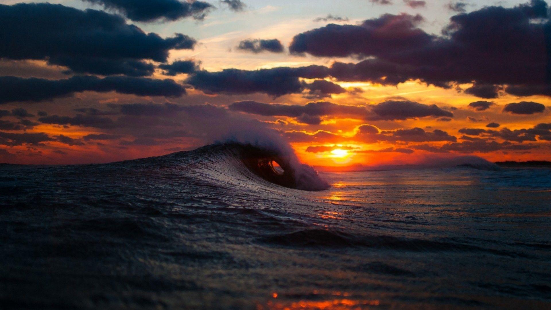 Sea Sunset Waves