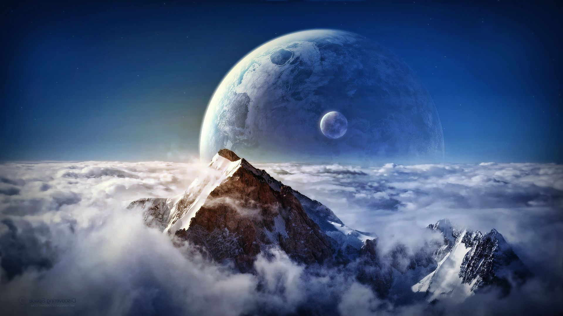Space The Moon In The Mountains