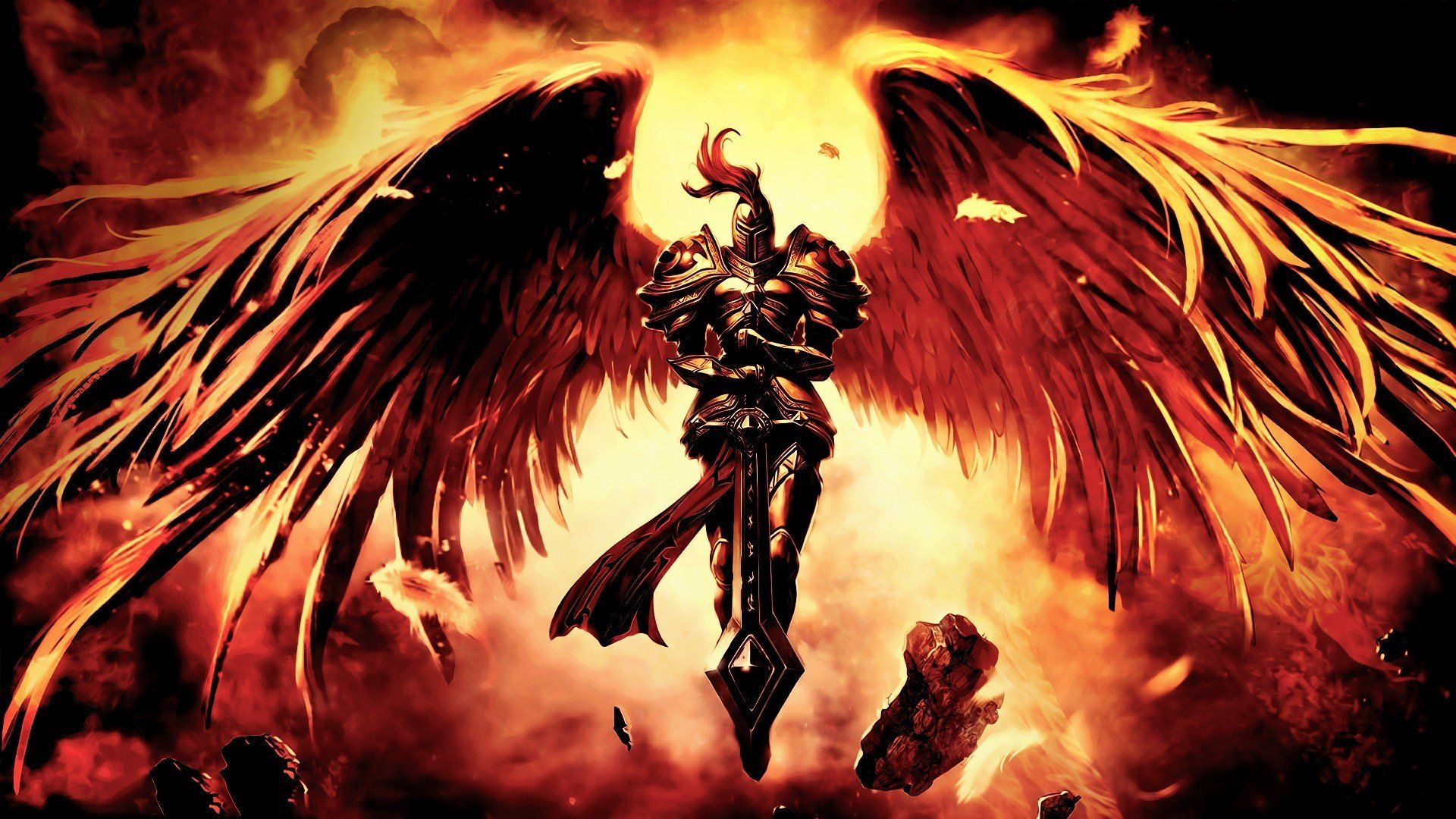 The Angel Of Death With Sword And Wings