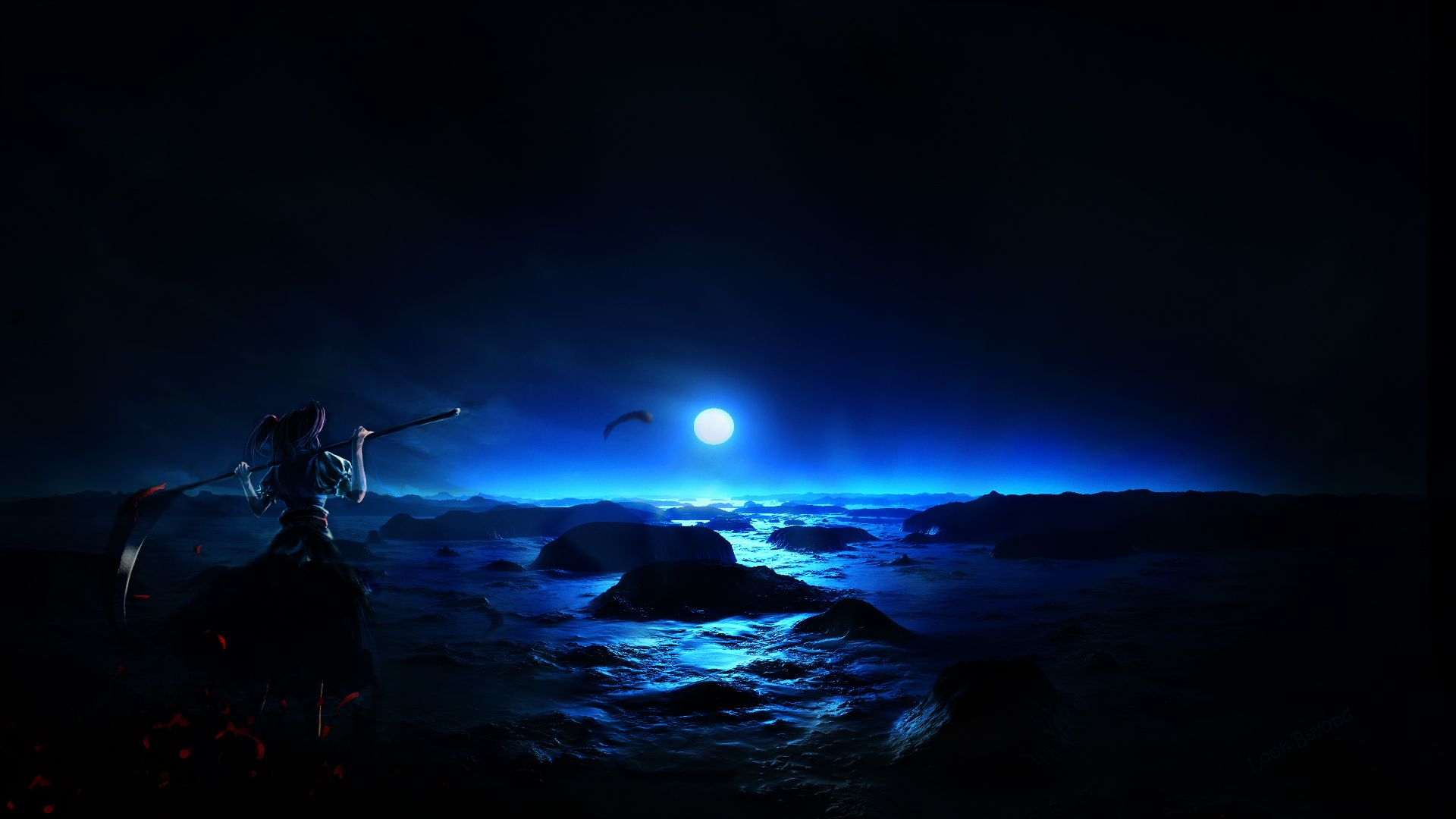 The Moon Over The Sea At Night