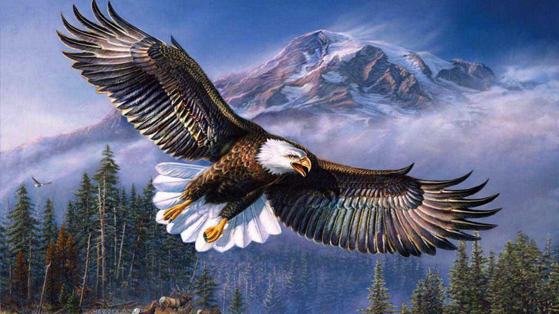 The Picture Eagle Over The Mountains