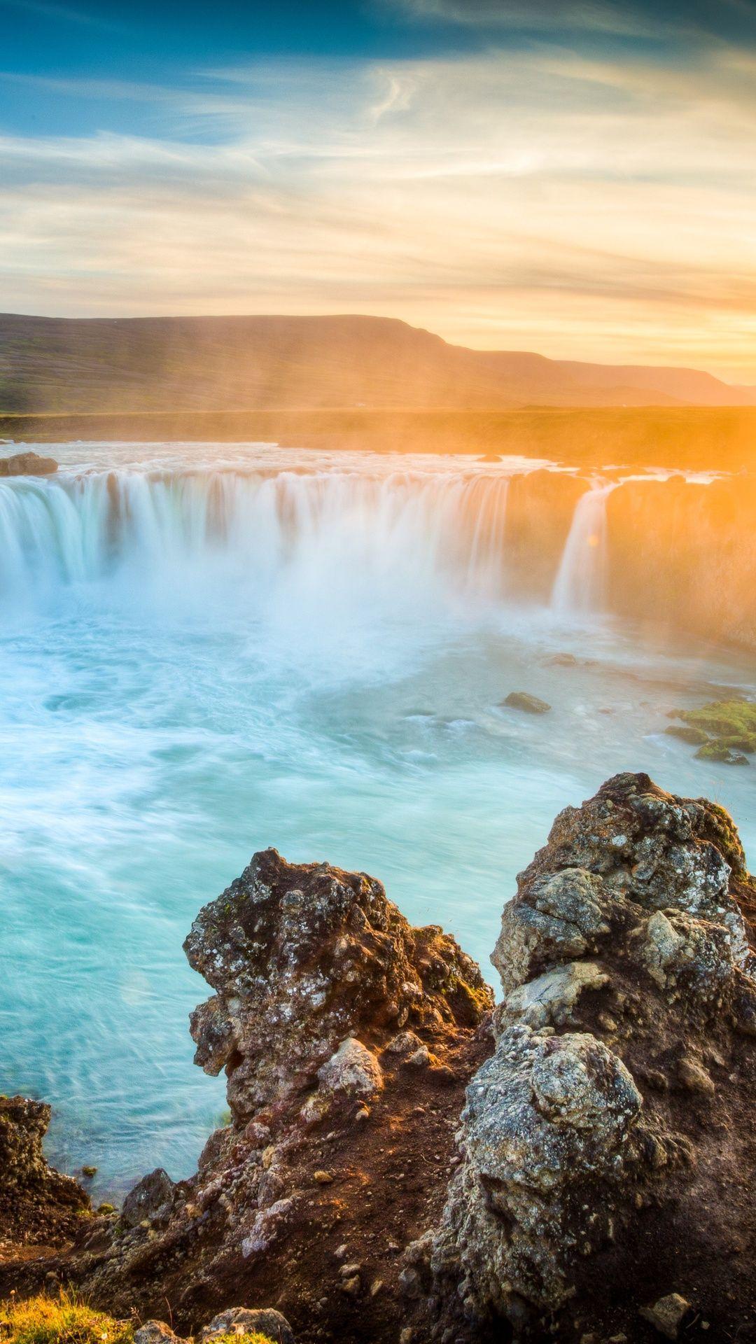 Waterfall Godafoss Iceland Dawn