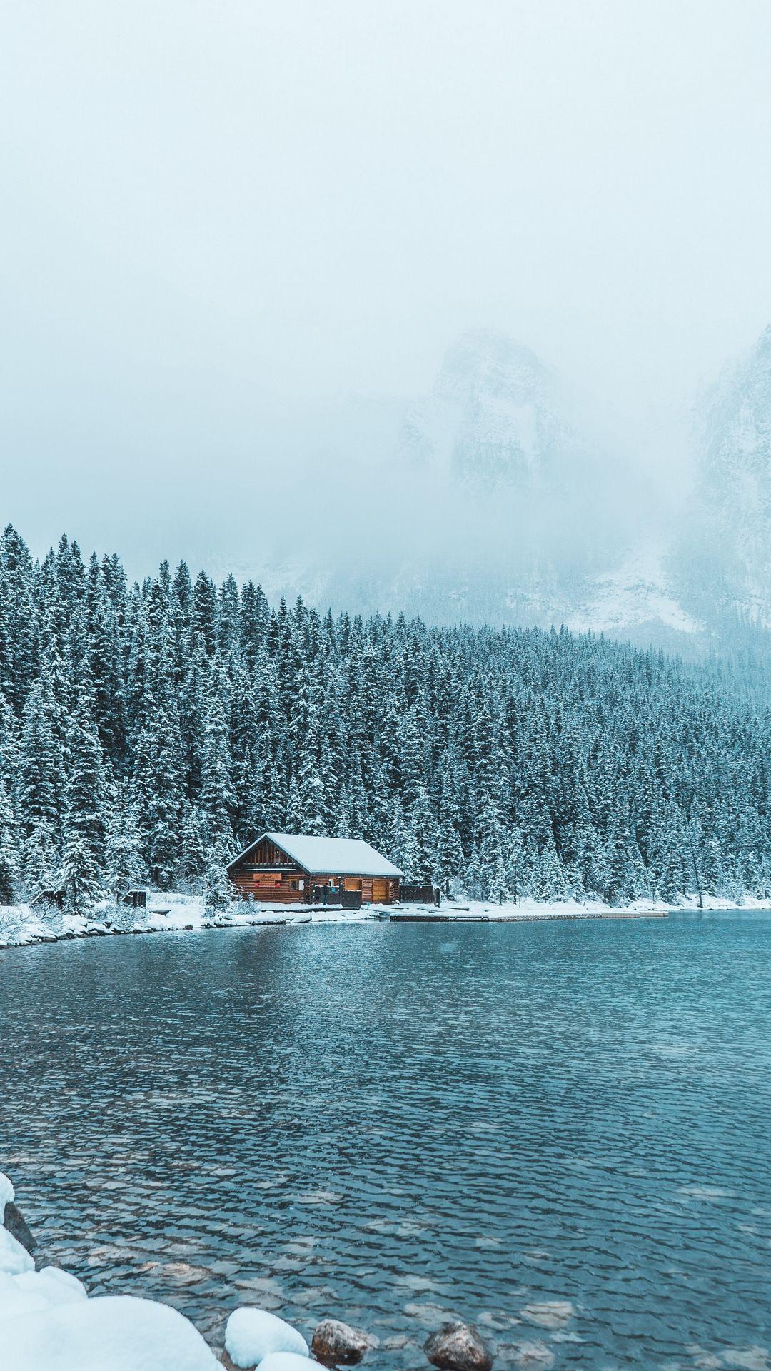 Winter Mountains Lake House