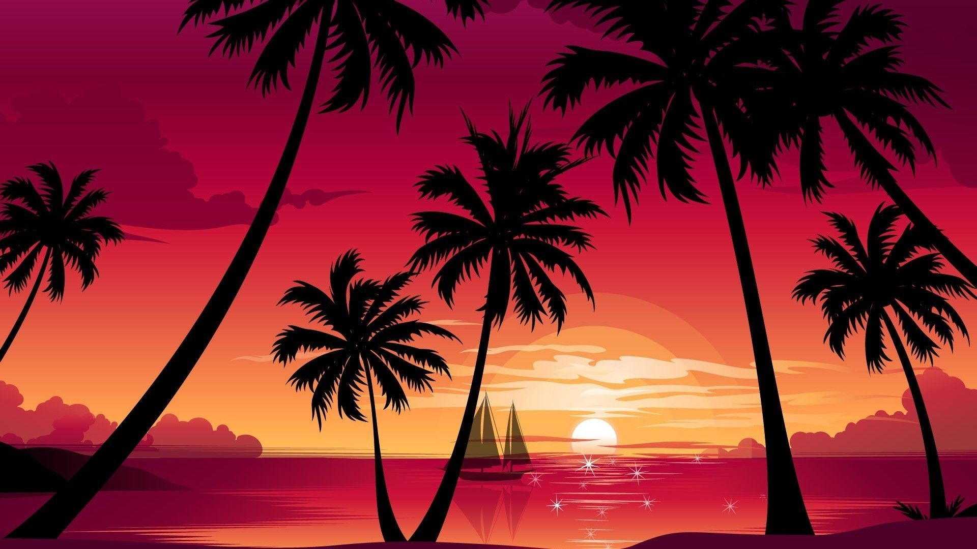 Palm Tree Sunset wallpaper for laptop