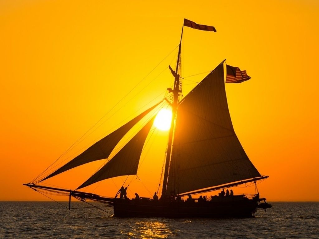 Sea Sunset Sailboat