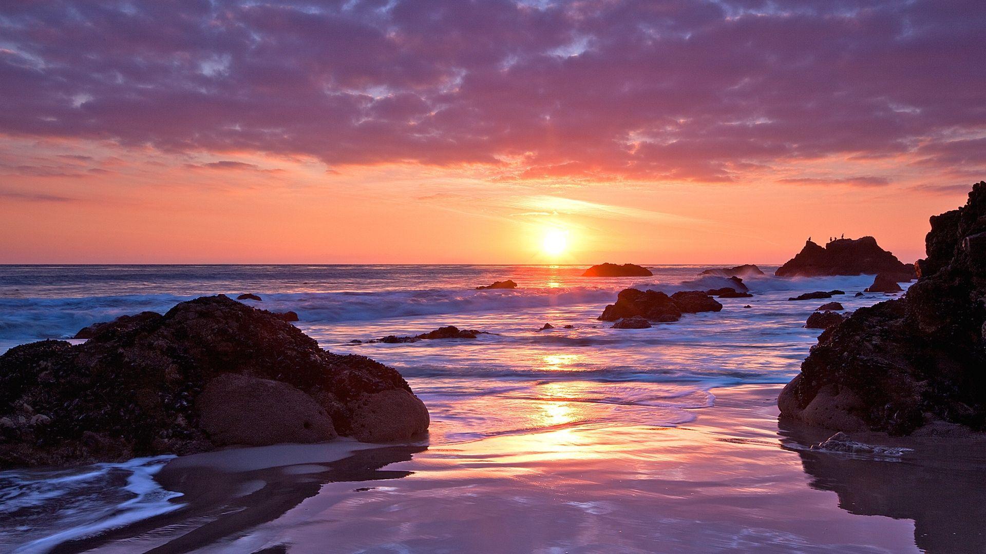 Ocean Sunset Cool HD Wallpaper