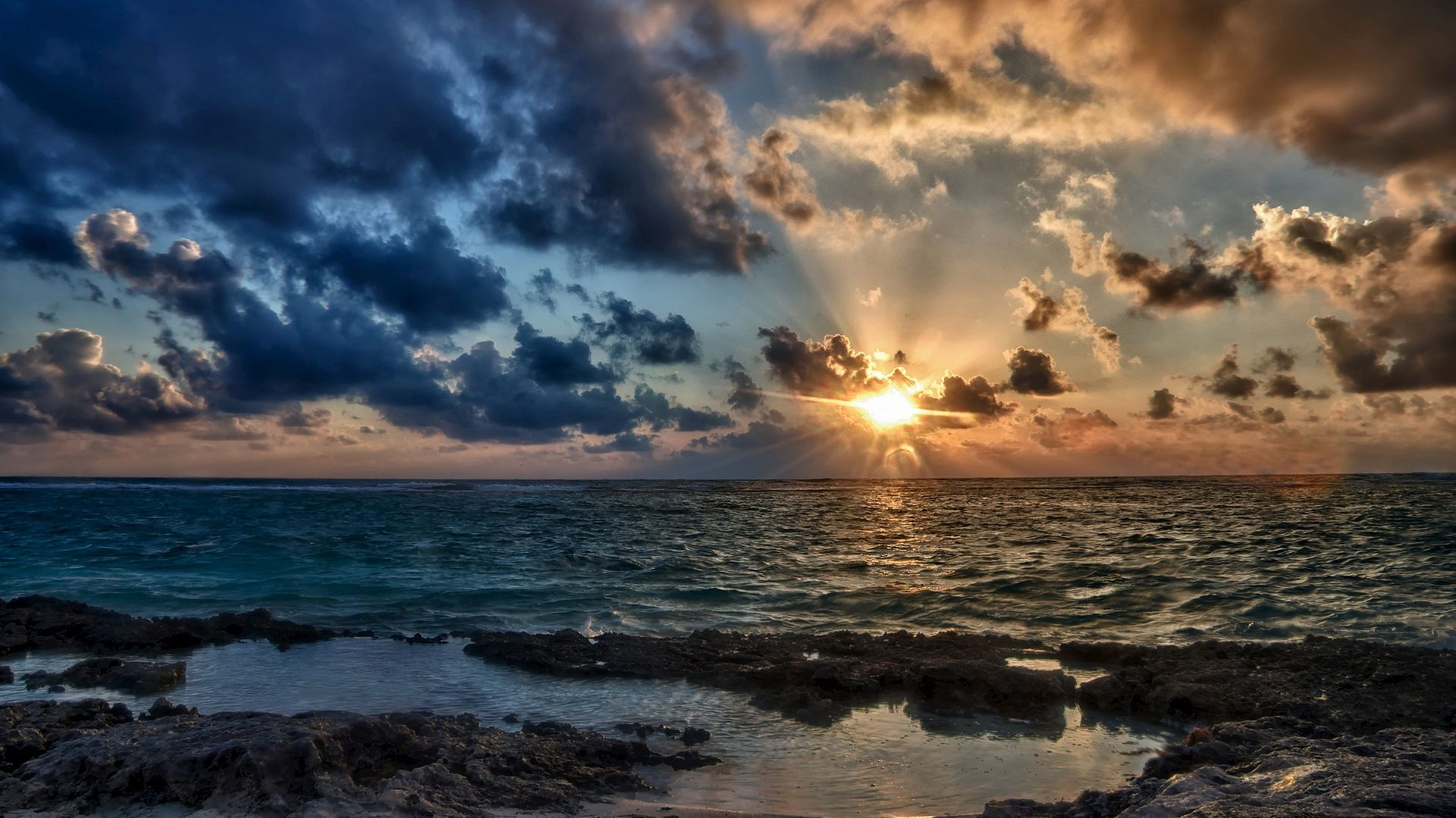 Ocean Sunset download free wallpapers for pc in hd