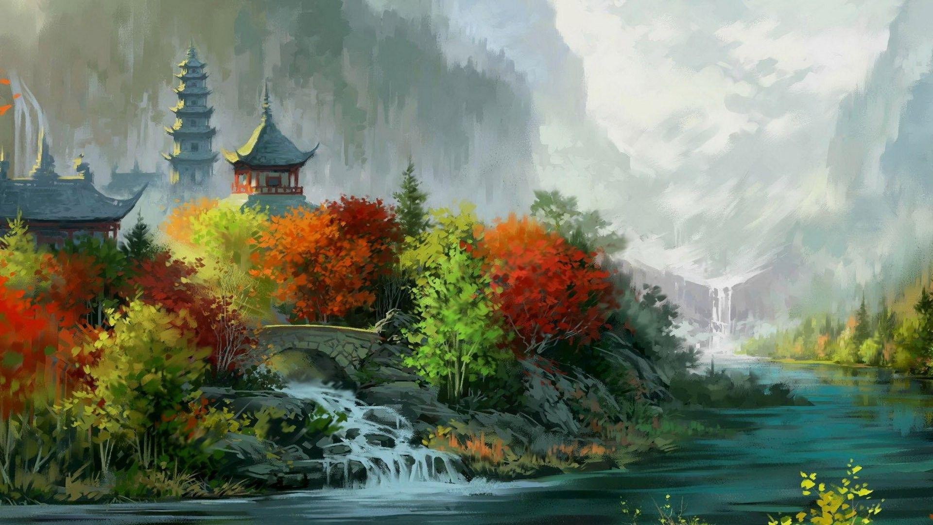 Pagoda wallpaper theme