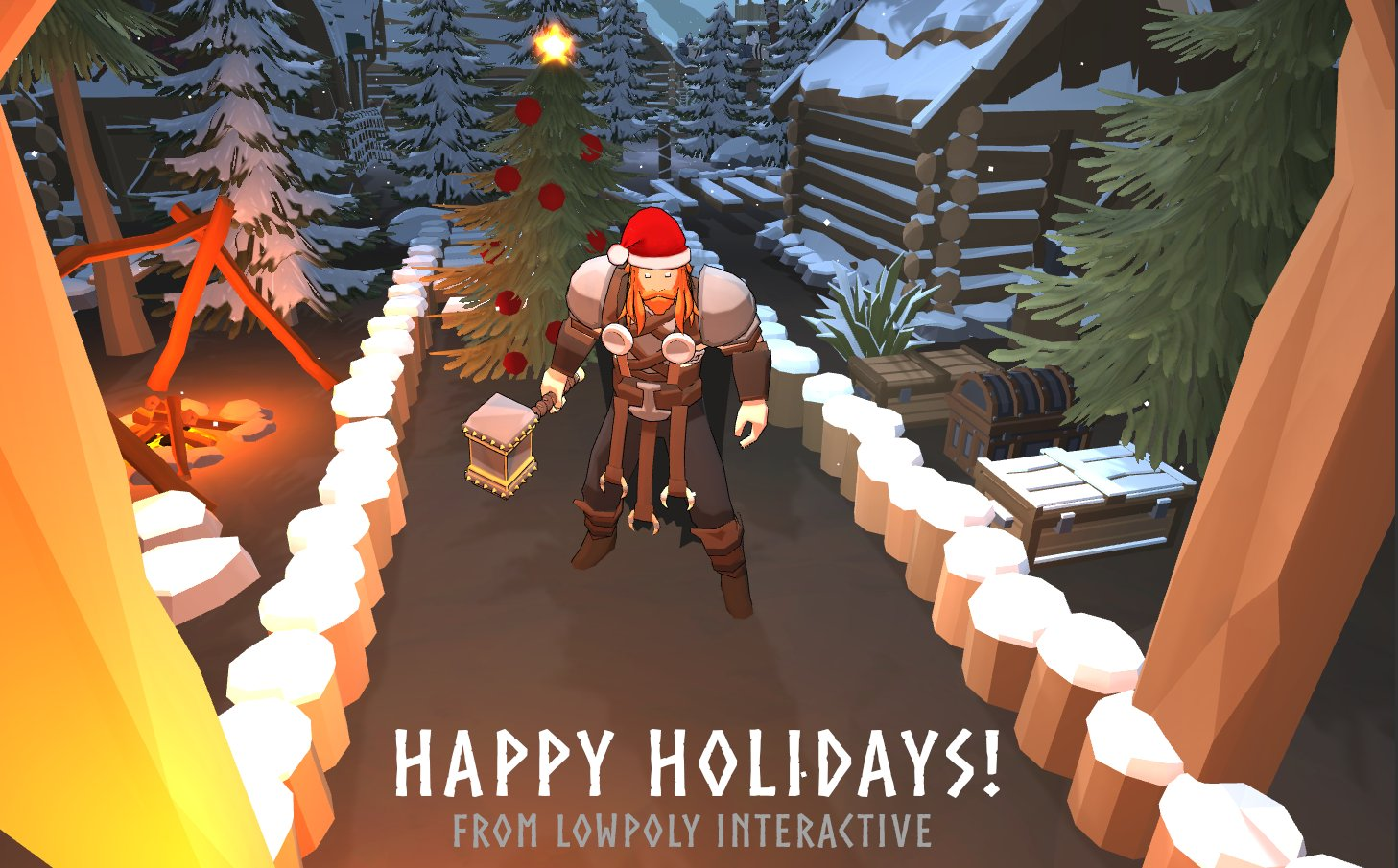 Lowpoly Interactive Happy Holidays Image