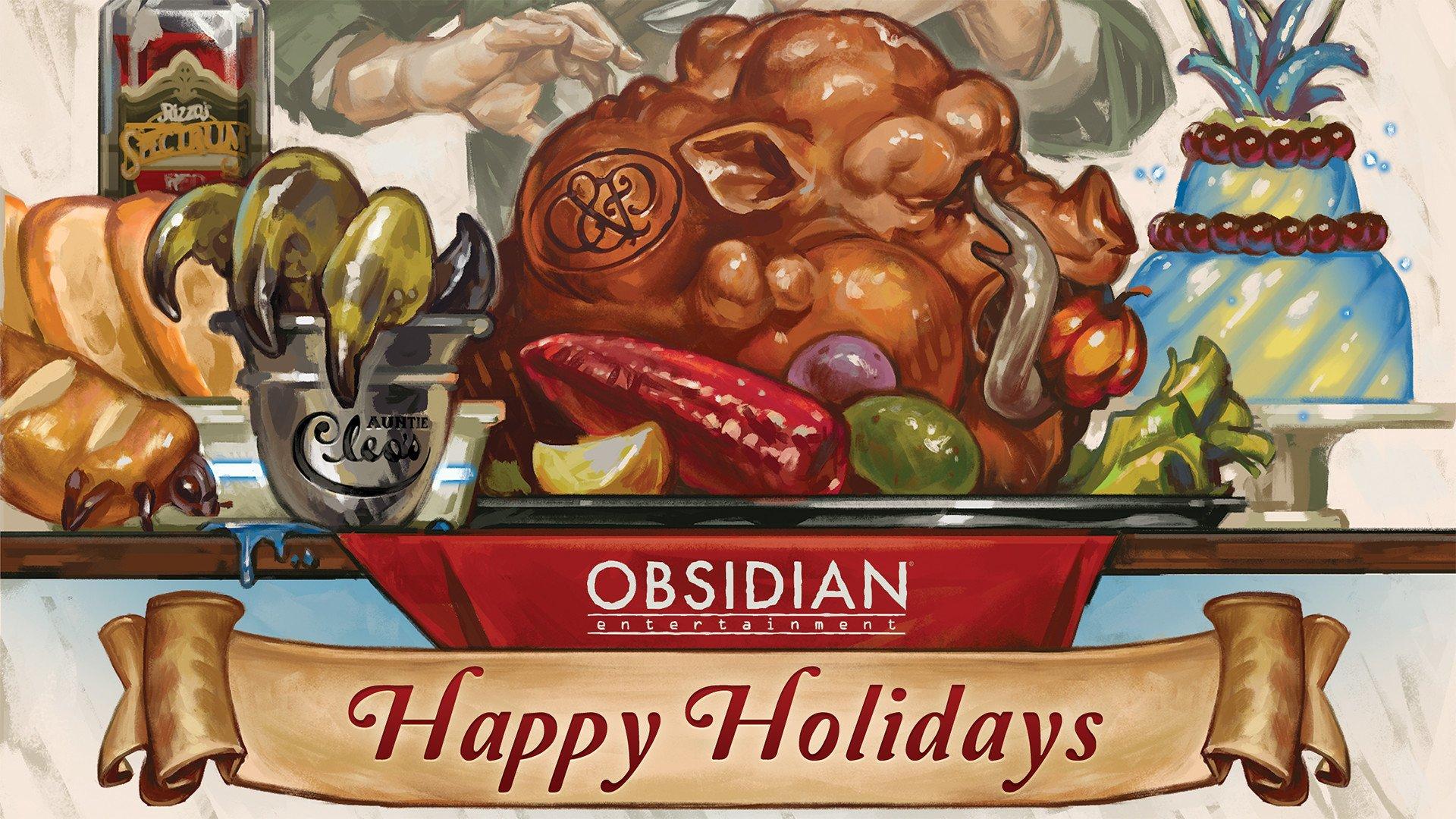 Obsidian Enternainment Happy Holidays HD Wallpaper