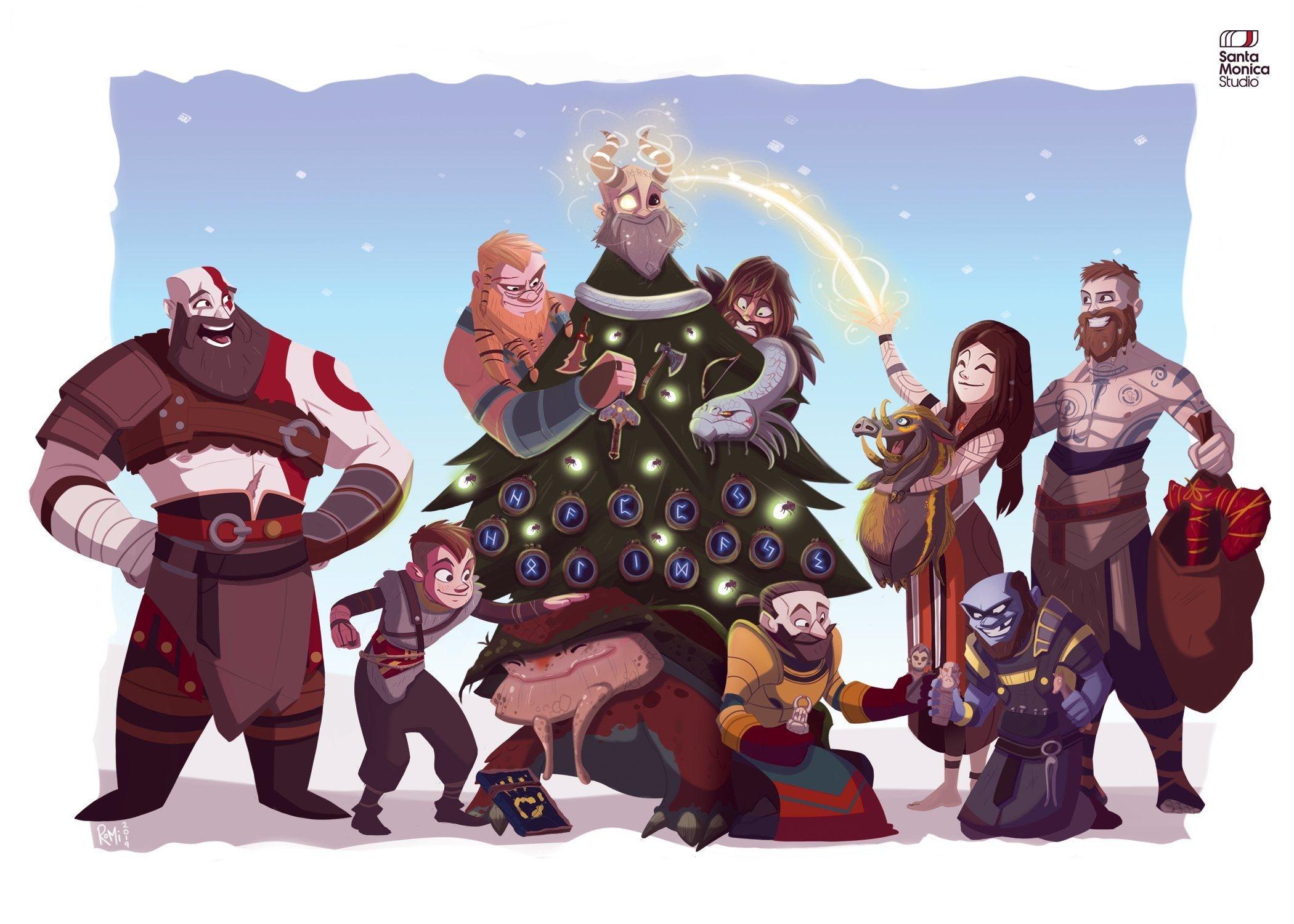 Santa Monica Studio Happy Holidays wallpaper