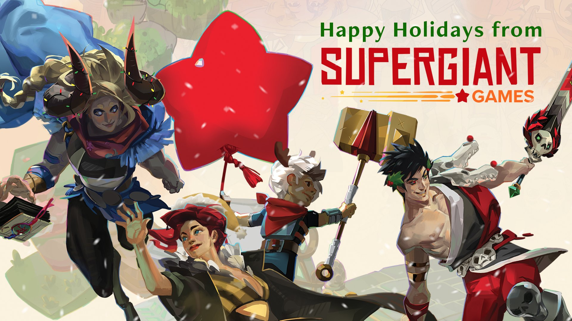 Supergiant Games Happy Holidays Desktop Wallpaper