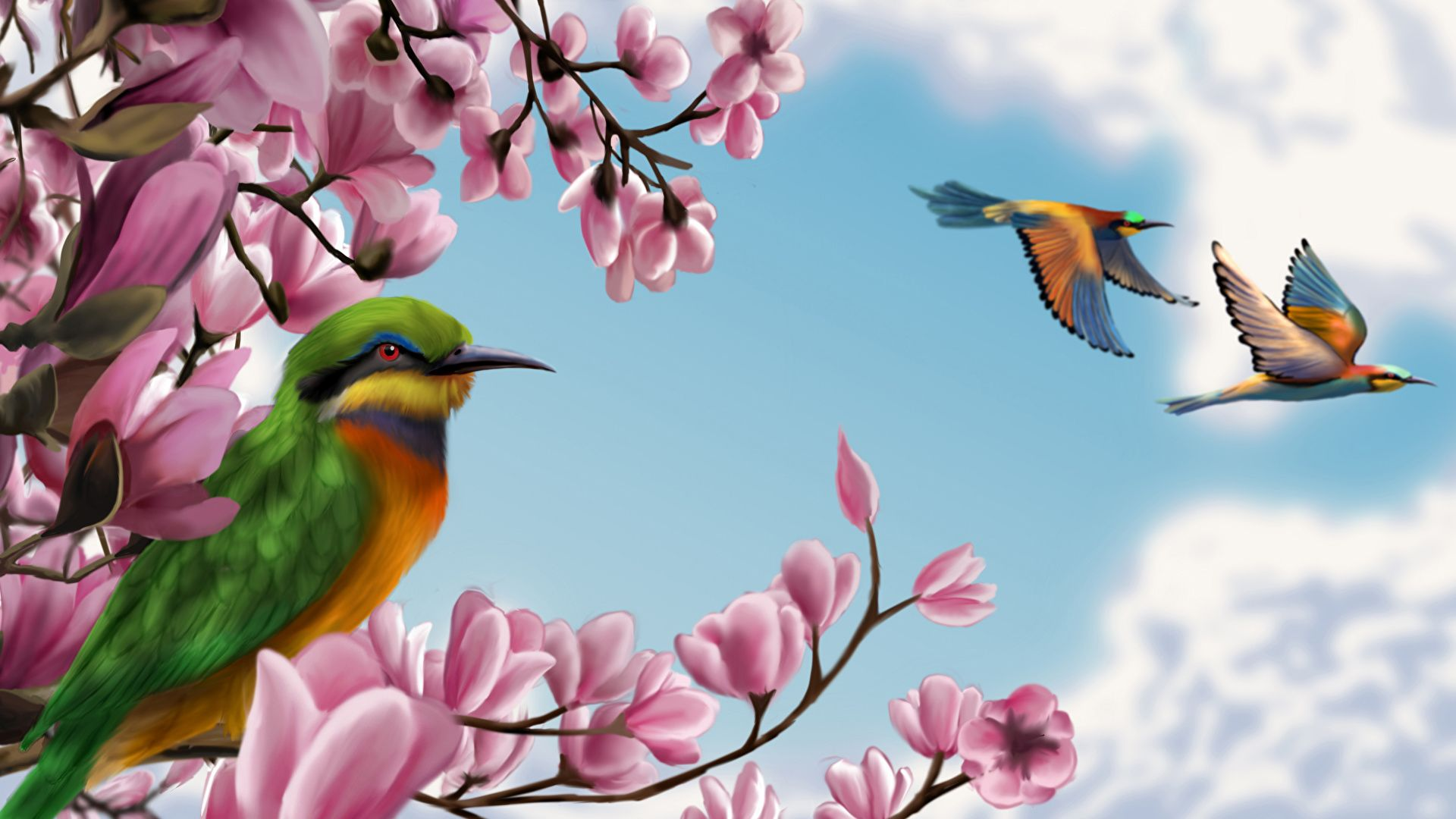 Bird And Butterfly wallpaper theme