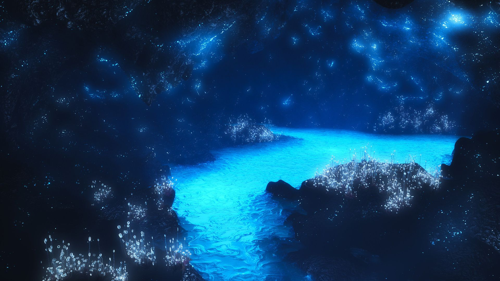 Cave Blue full hd wallpaper