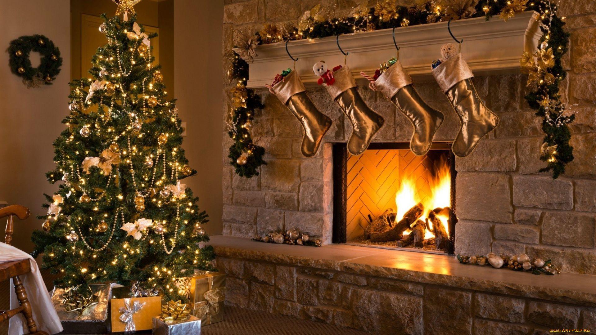 Christmas Fireplace Comfort PC Wallpaper