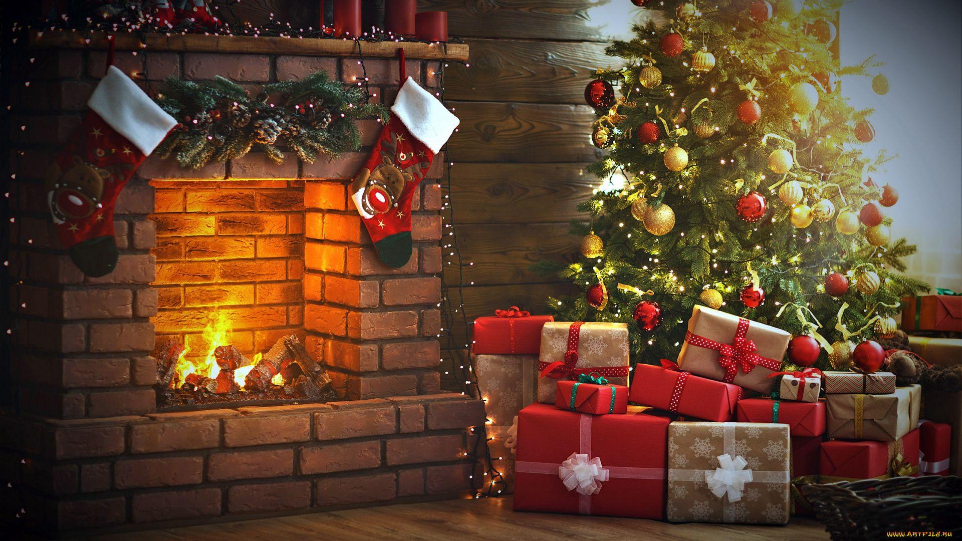 Christmas Fireplace Comfort vertical wallpaper hd