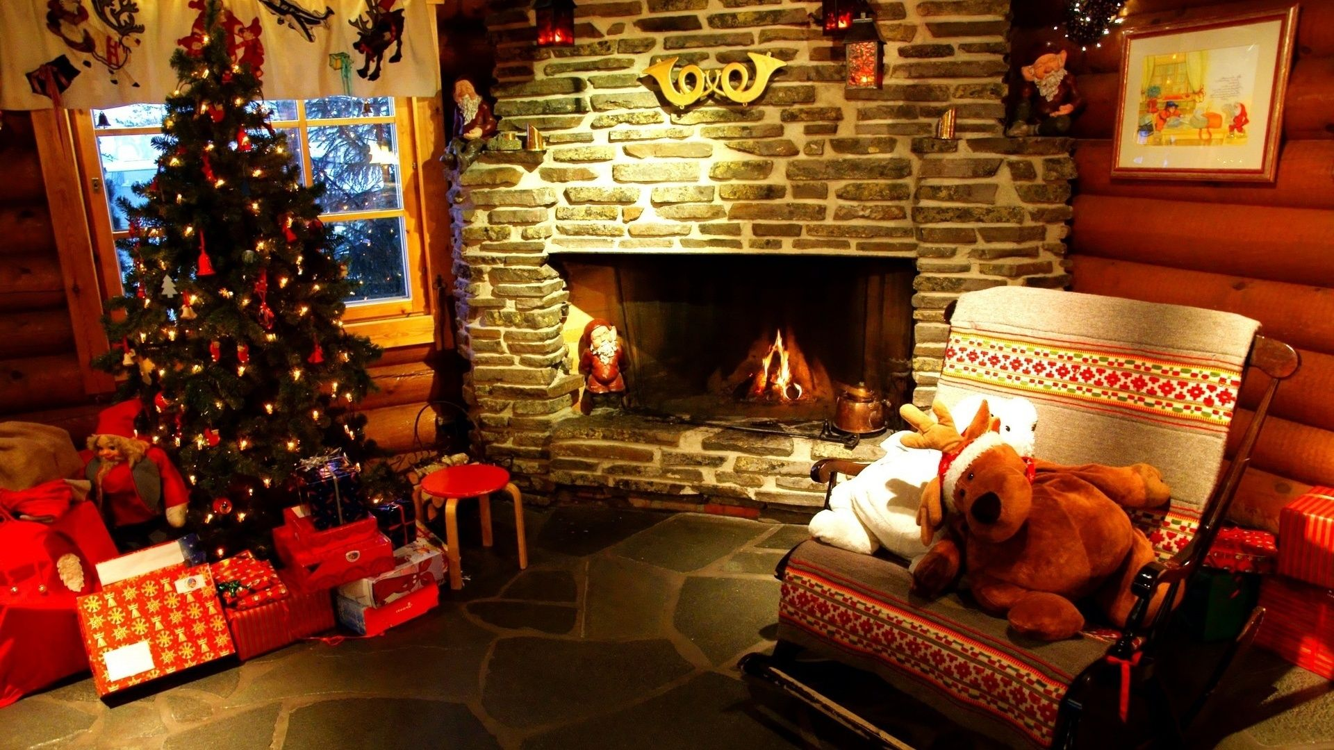 Christmas Fireplace Comfort Background