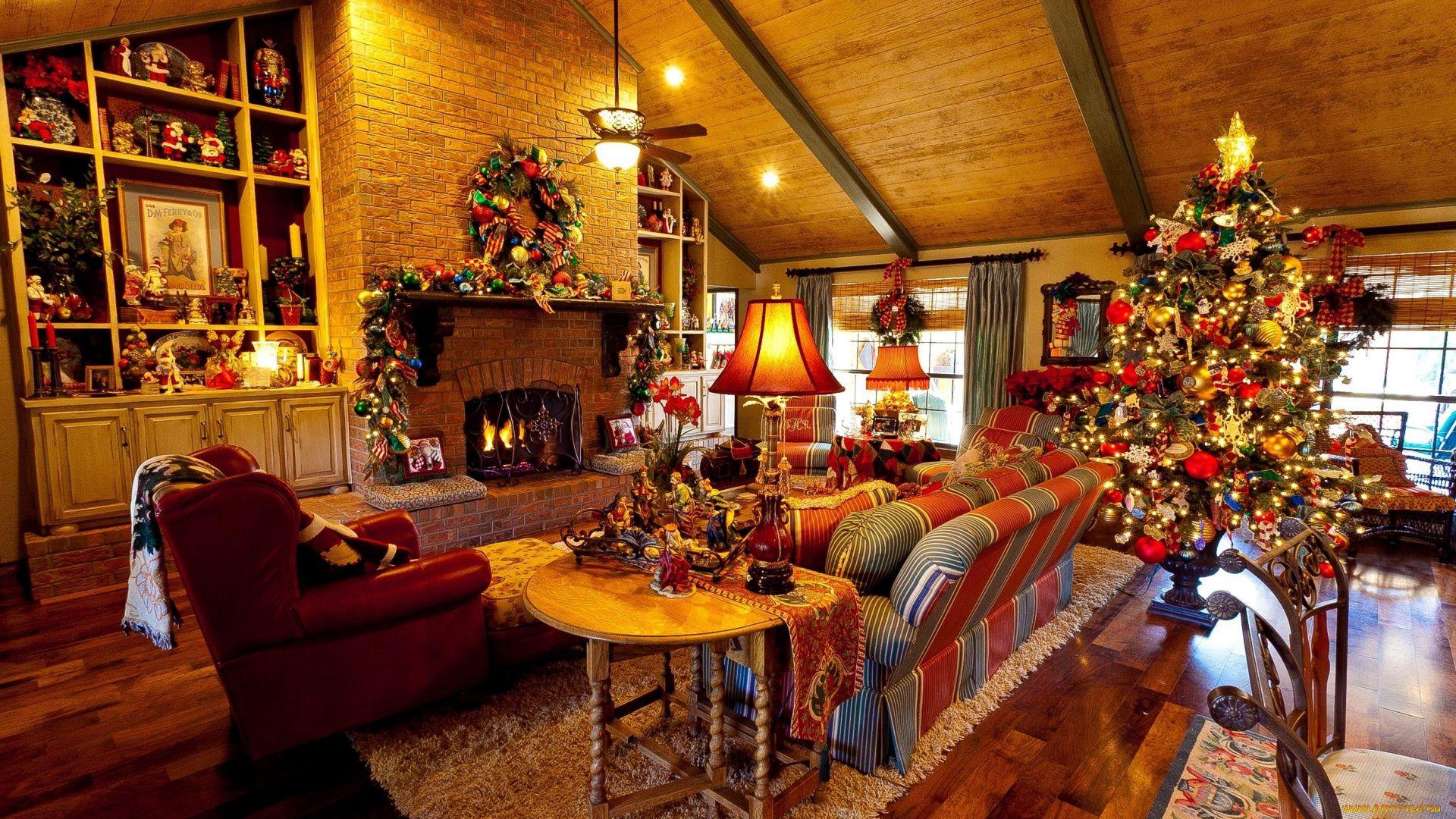 Christmas Fireplace Comfort HD 1080 wallpaper