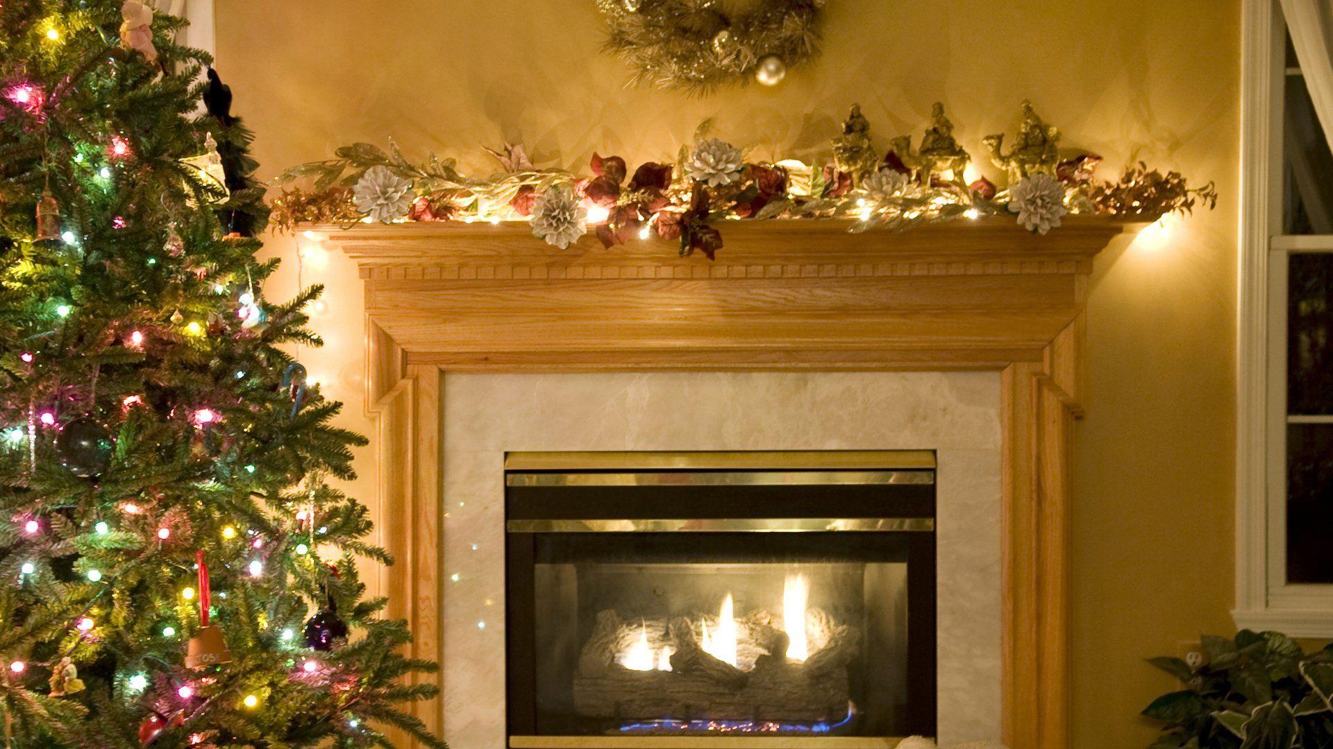 Christmas Fireplace Comfort Full HD Wallpaper