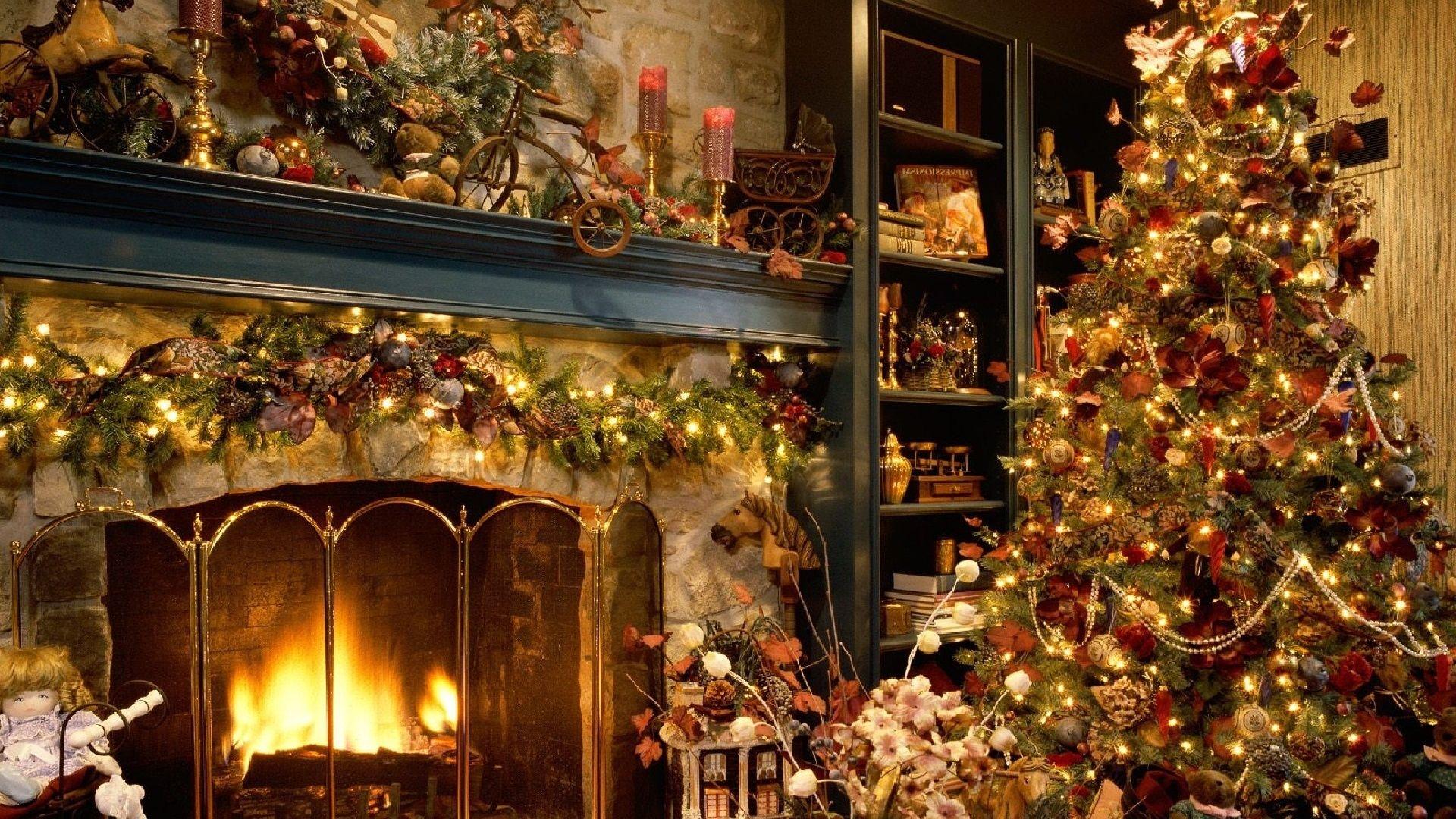 Christmas Fireplace Comfort Wallpaper
