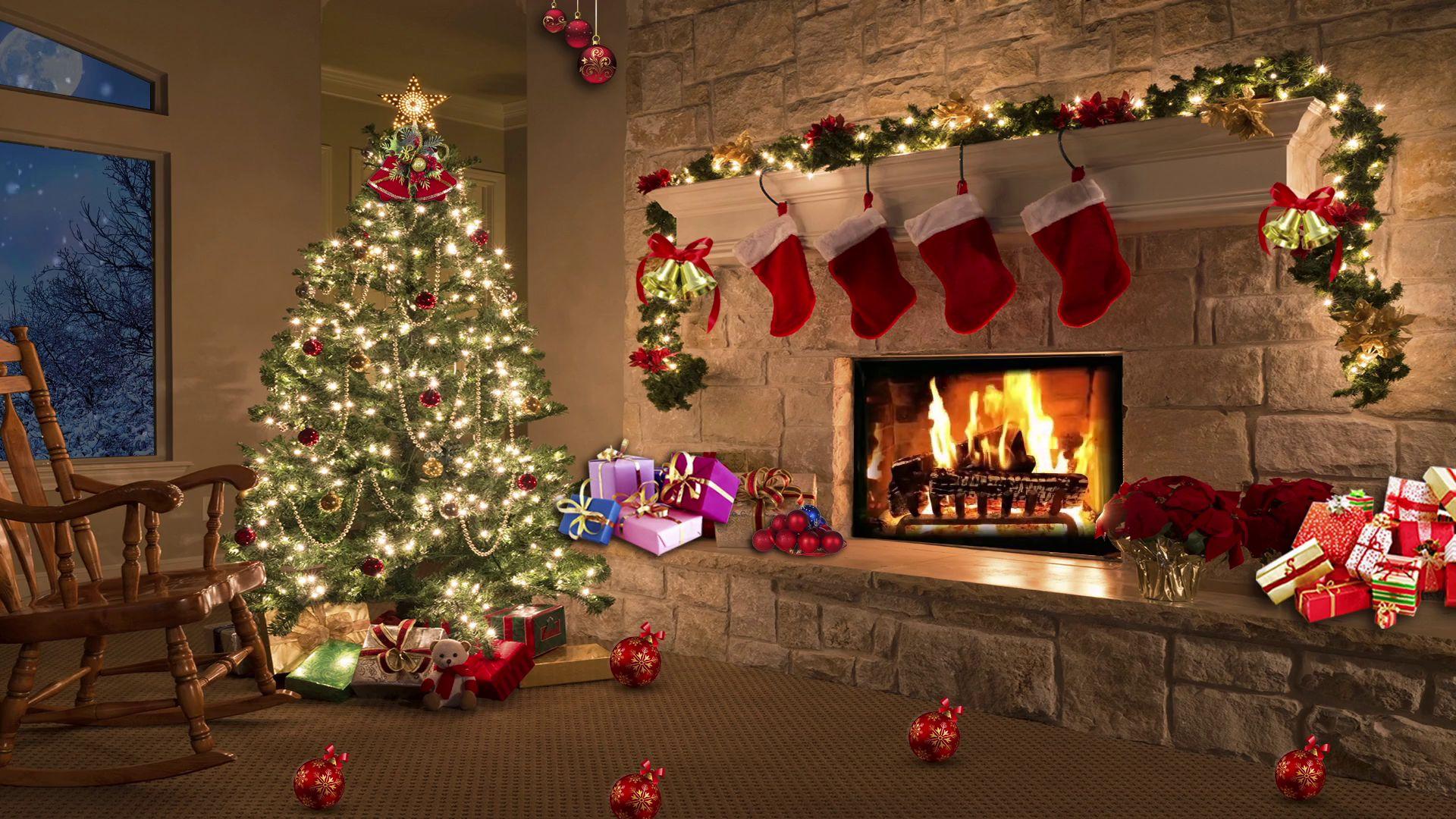 Christmas Fireplace Comfort Wallpaper Theme