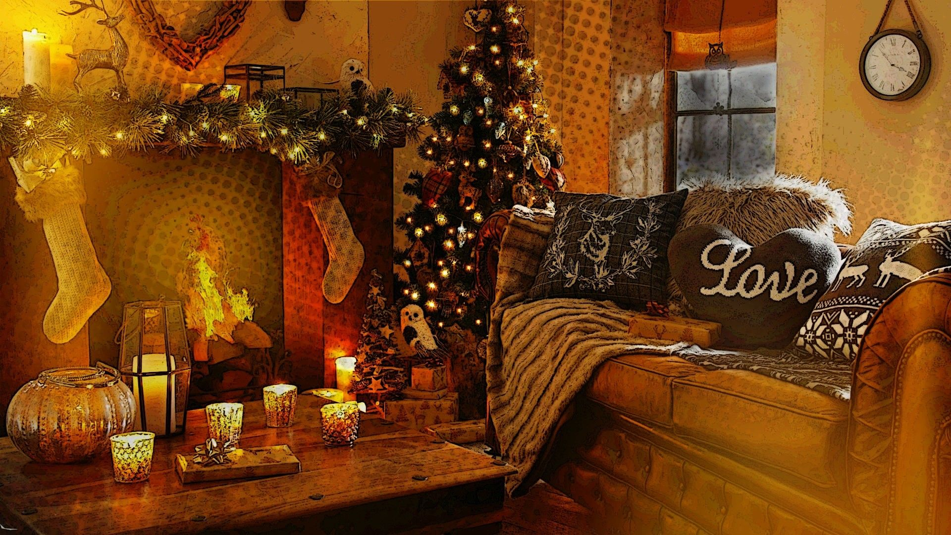Christmas Fireplace Comfort free hd wallpaper