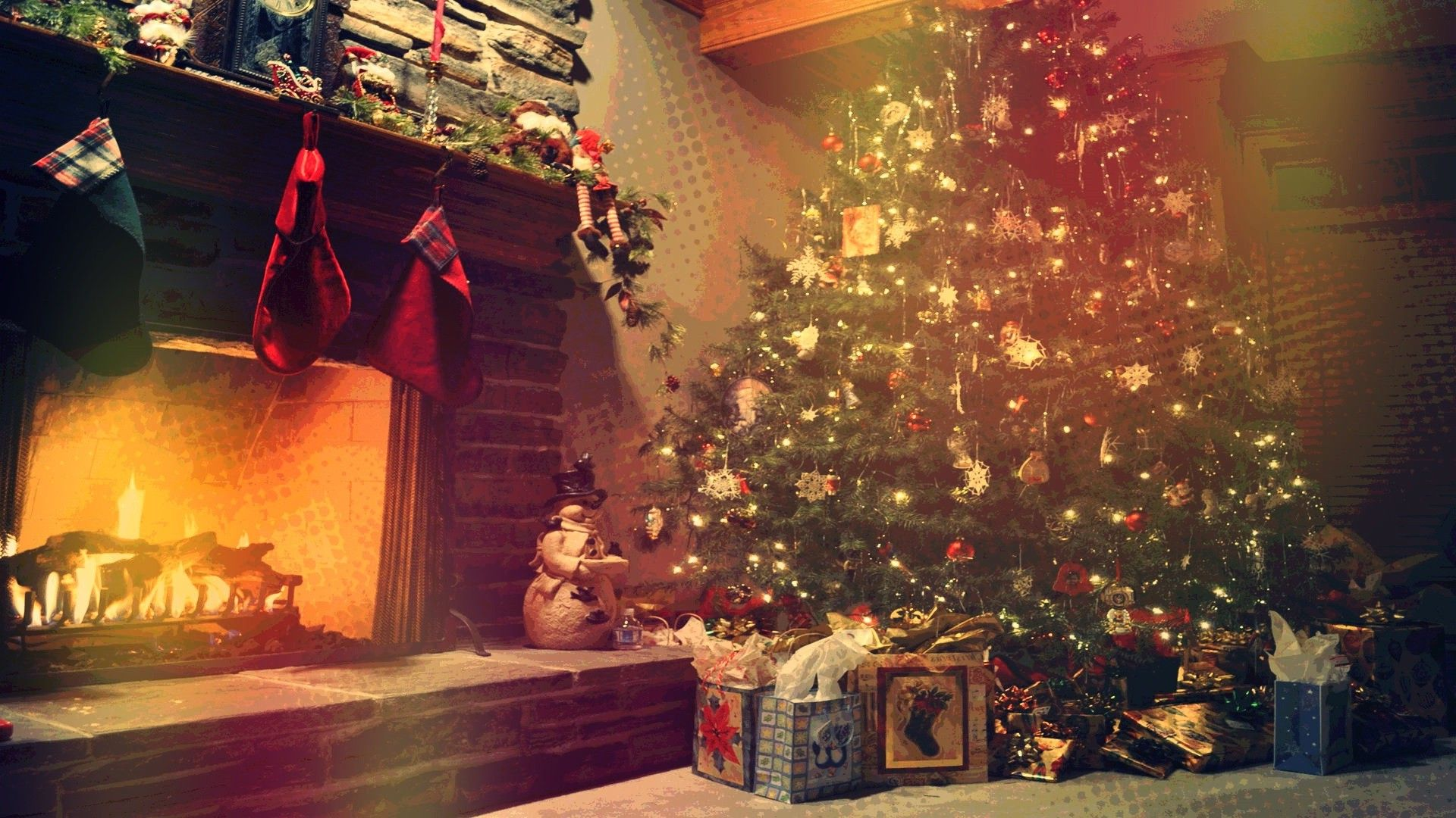 Christmas Fireplace Comfort Desktop Wallpaper