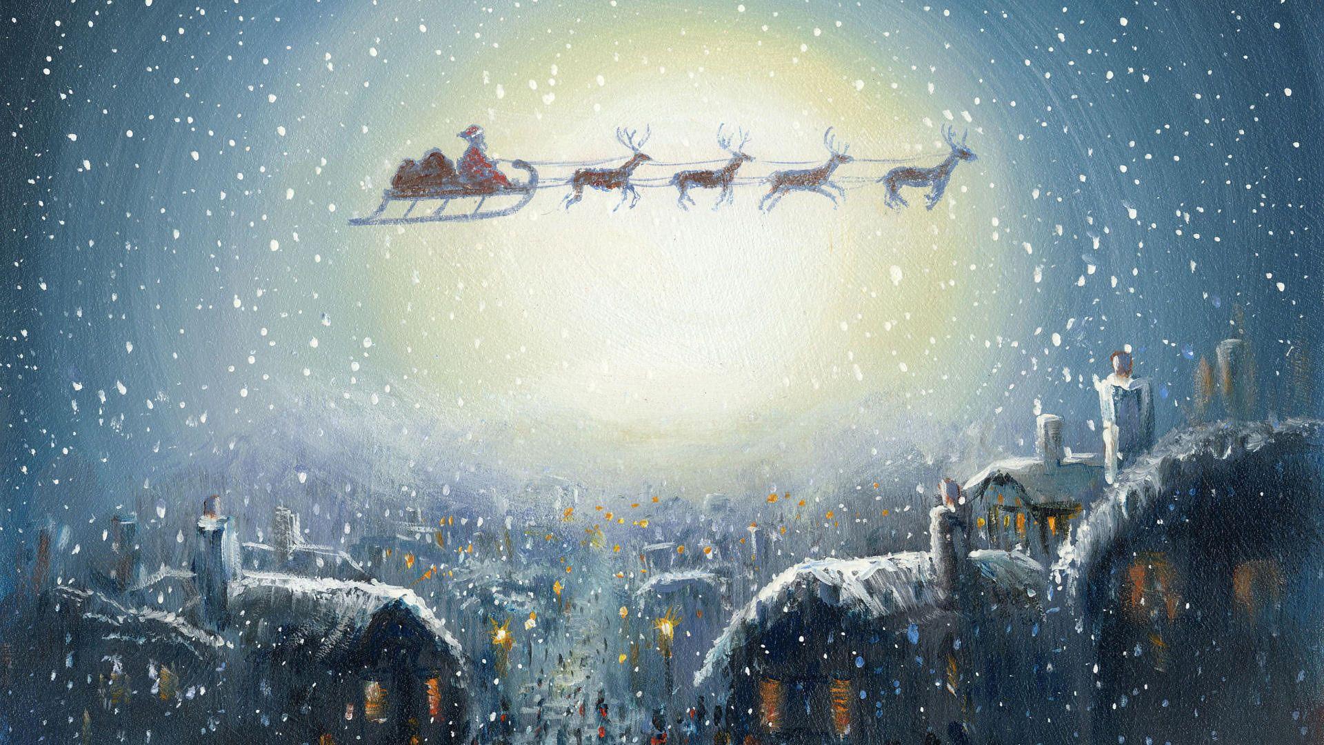 Christmas Sleigh vertical wallpaper hd