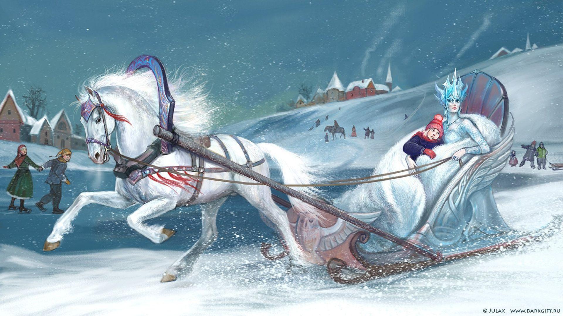 Christmas Sleigh HD Desktop Wallpaper